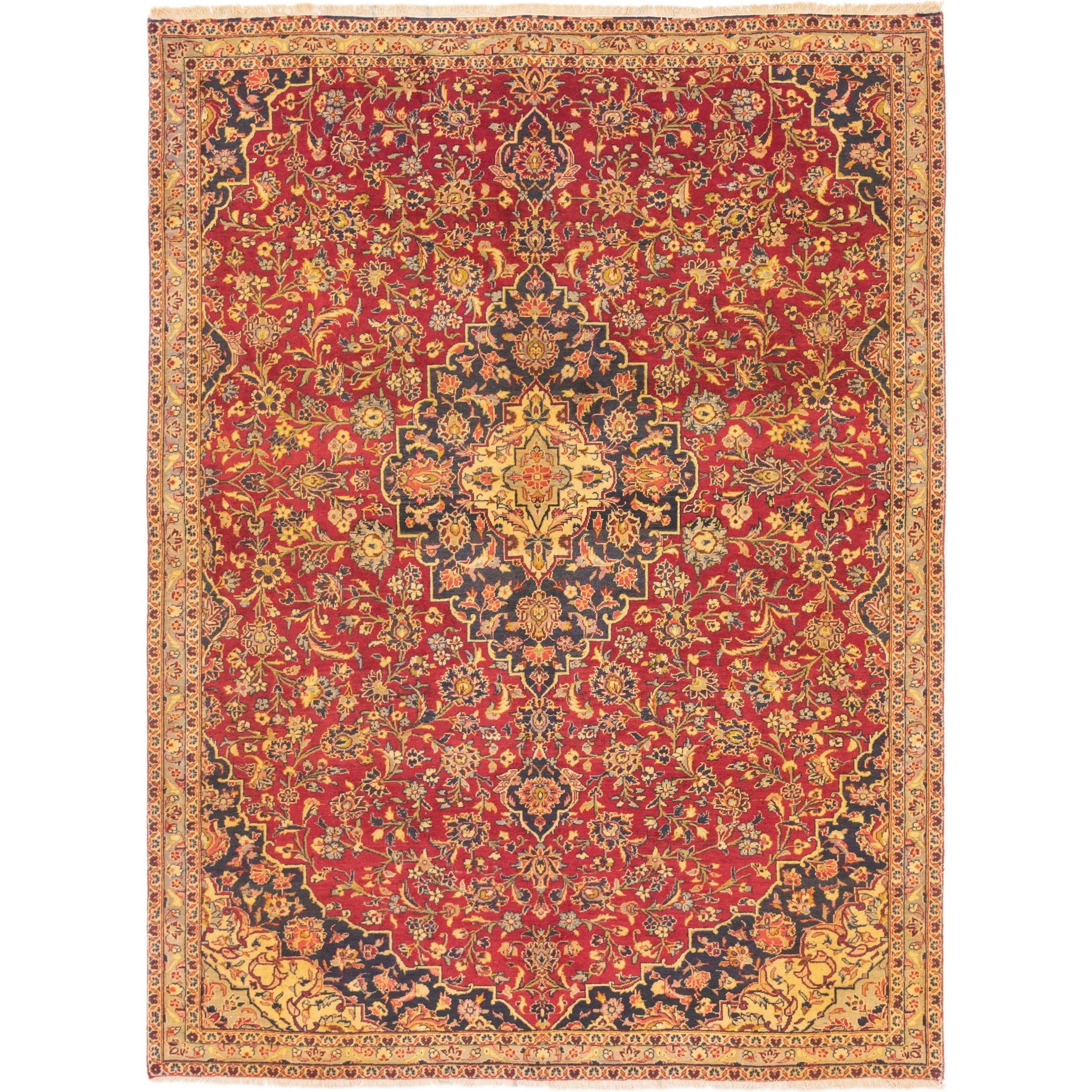 Hand Knotted Kashan Semi Antique Wool Area Rug - 7 x 9 4 (Red - 7 x 9 4)