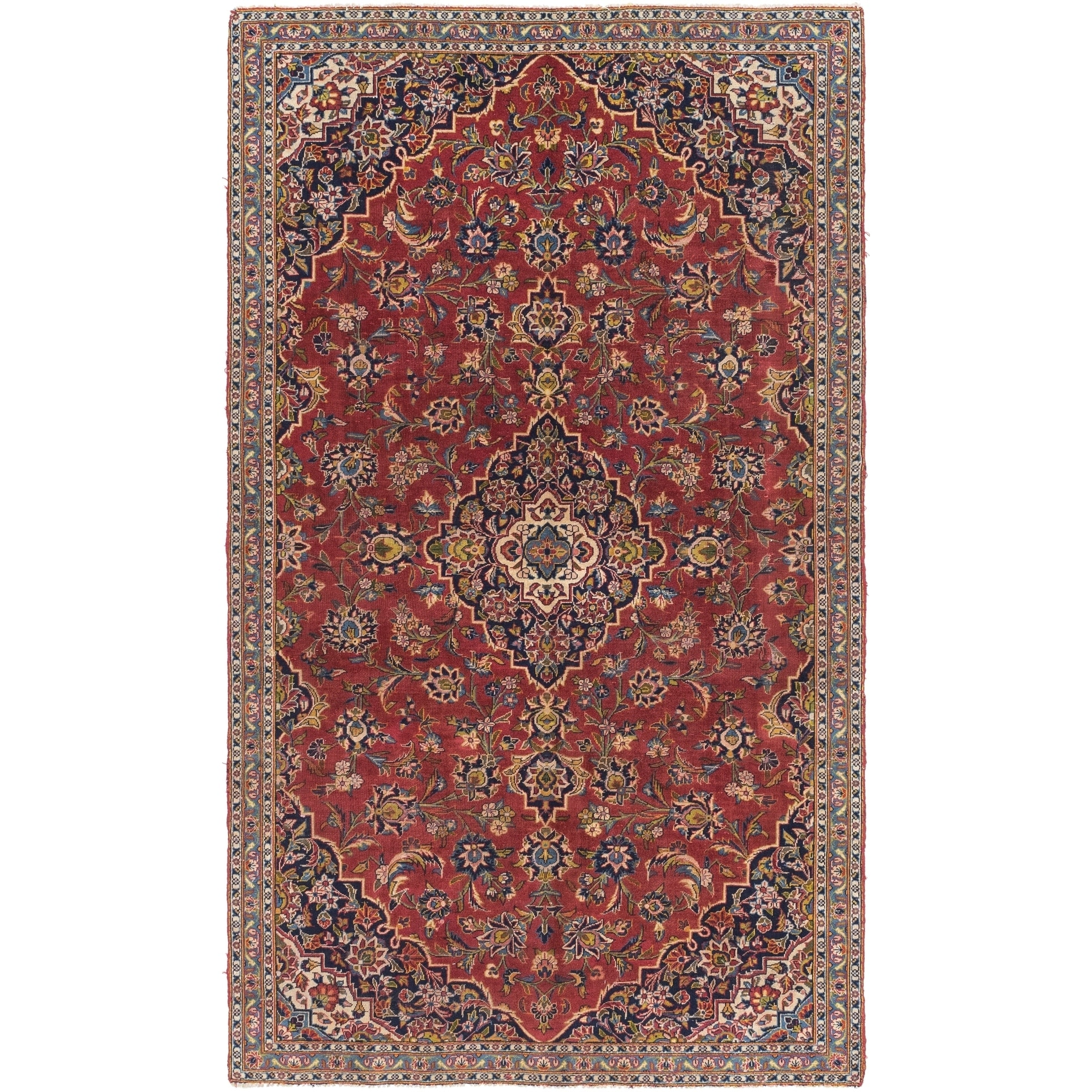 Hand Knotted Kashan Semi Antique Wool Area Rug - 5 7 x 9 5 (Red - 5 7 x 9 5)