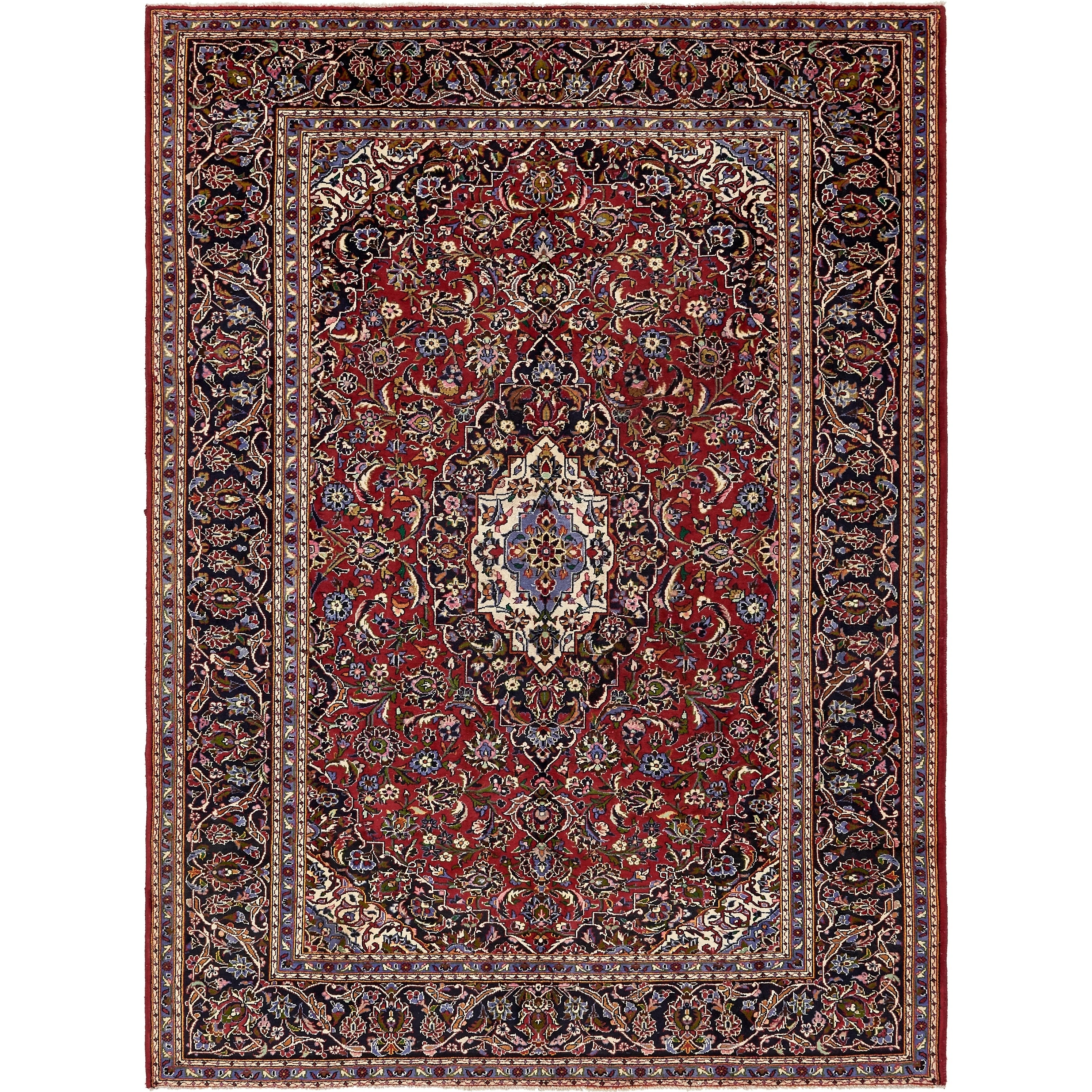 Hand Knotted Kashan Semi Antique Wool Area Rug - 8 3 x 11 2 (Red - 8 3 x 11 2)