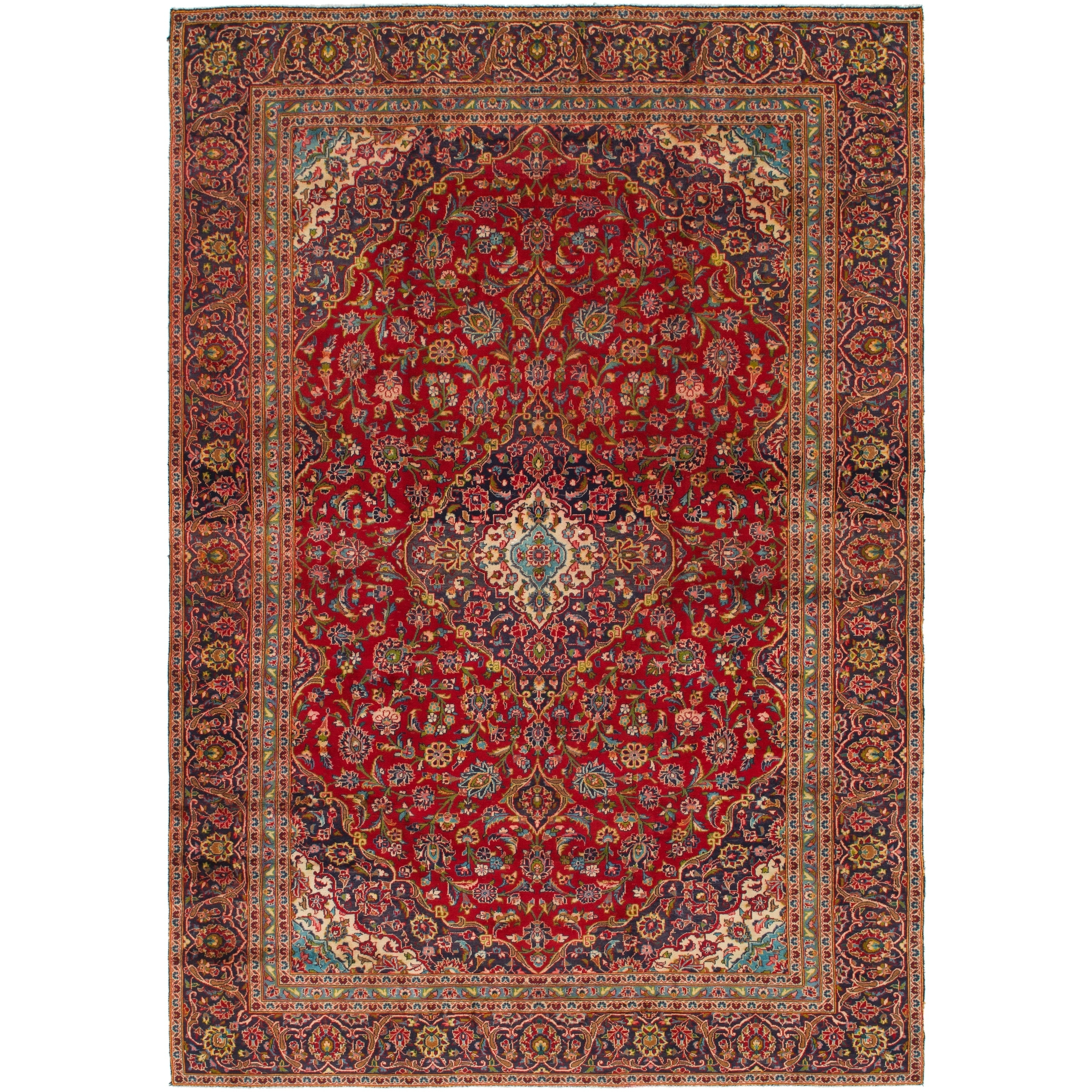 Hand Knotted Kashan Semi Antique Wool Area Rug - 9 x 12 10 (Red - 9 x 12 10)