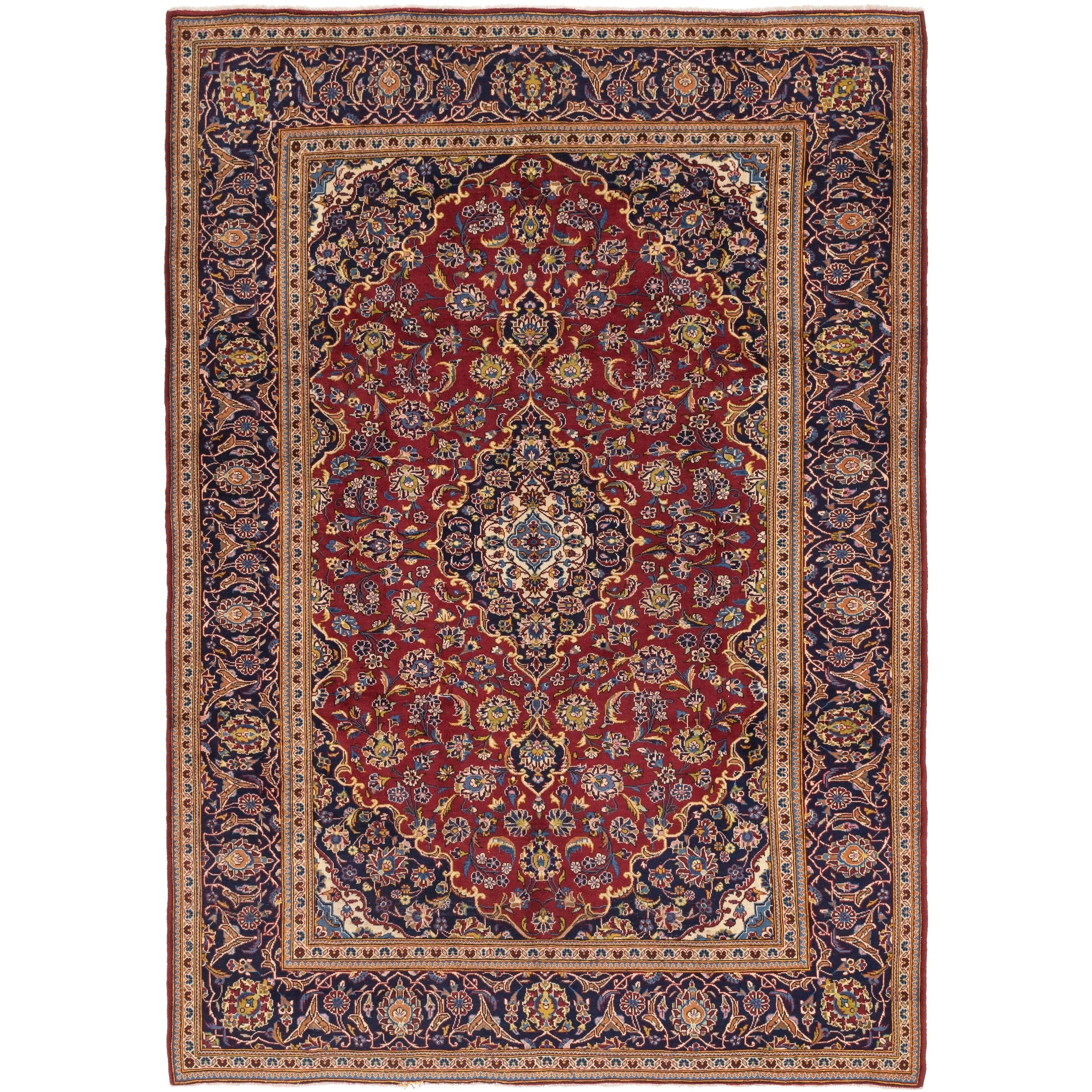Hand Knotted Kashan Wool Area Rug - 8 x 11 4 (Red - 8 x 11 4)