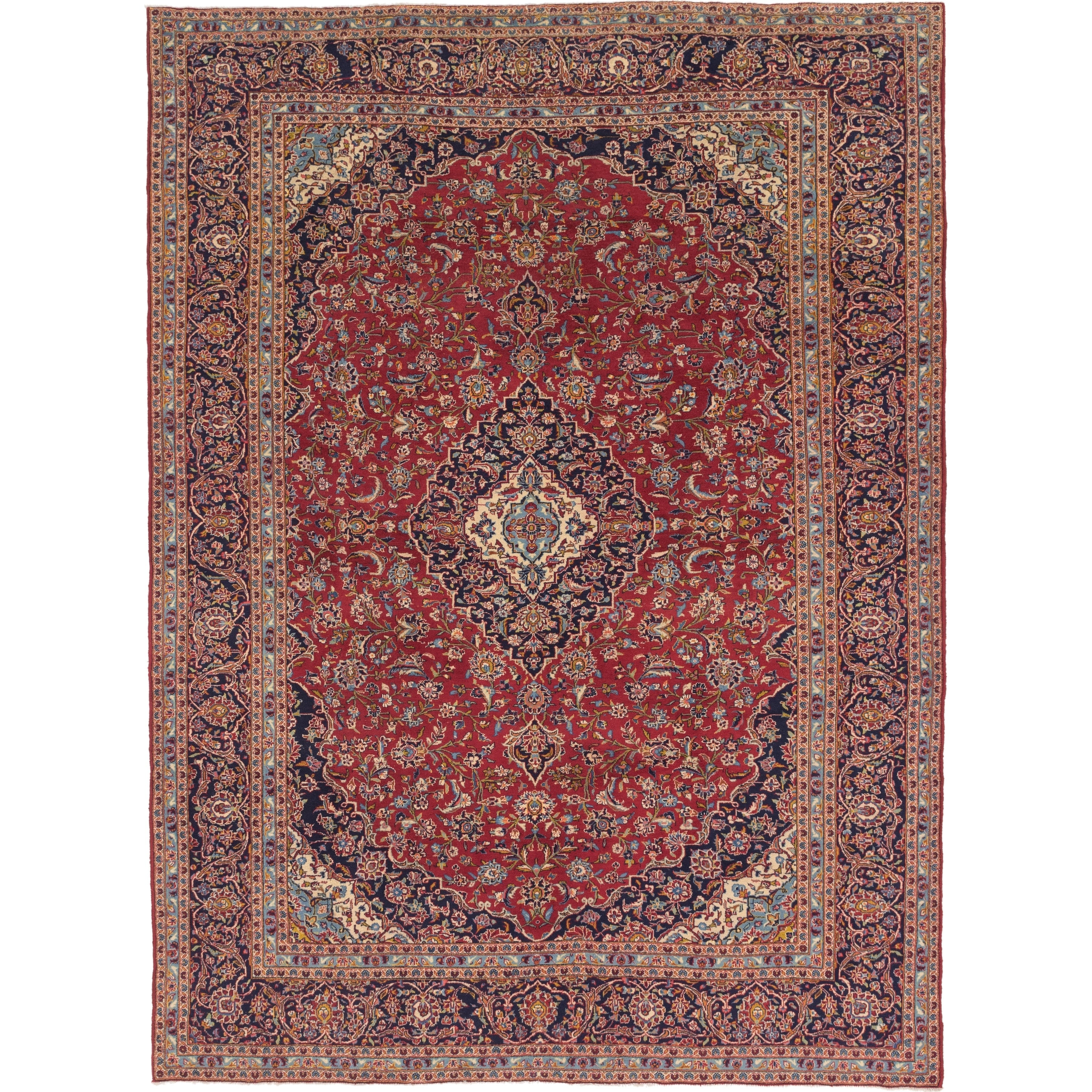 Hand Knotted Kashan Wool Area Rug - 9 10 x 13 3 (Red - 9 10 x 13 3)