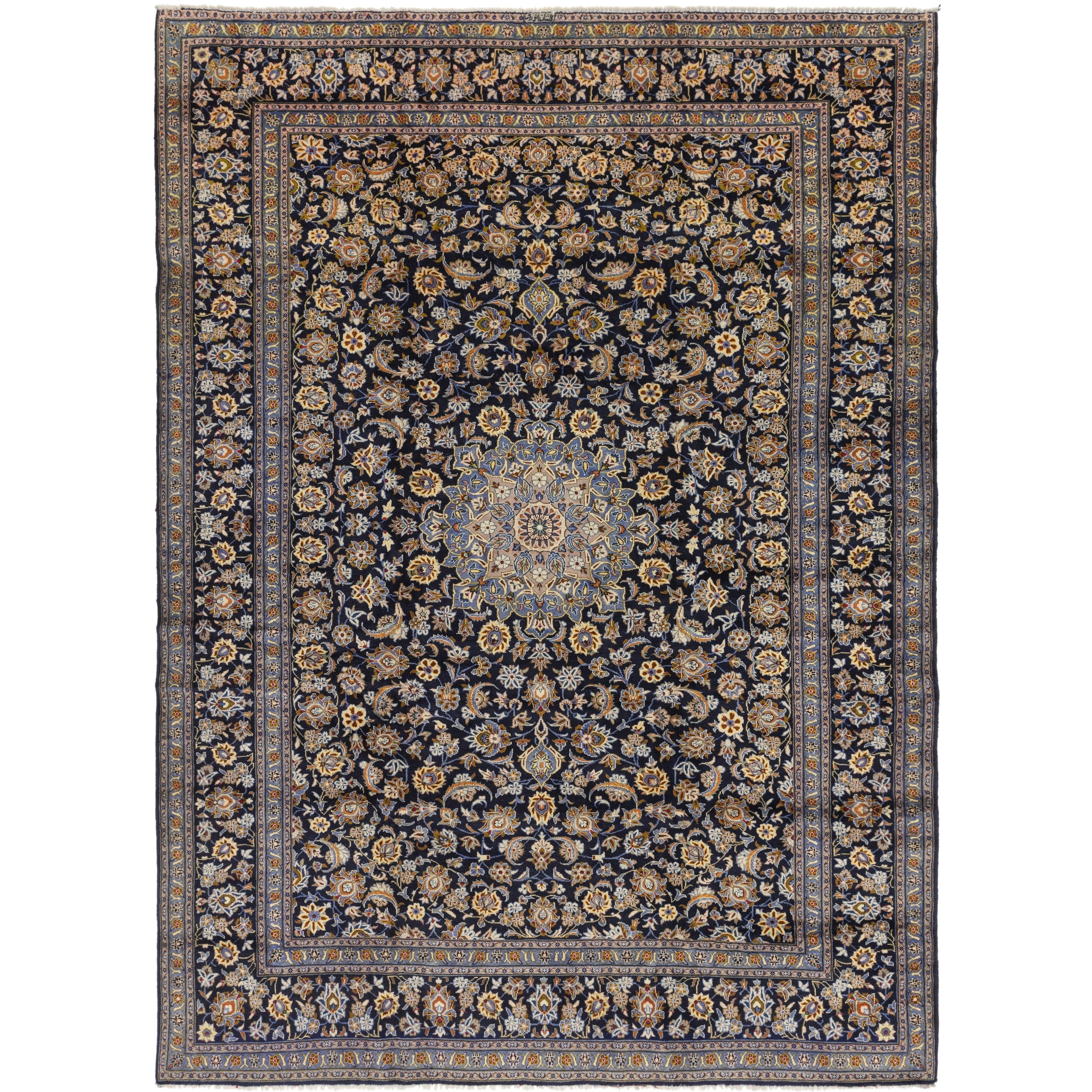 Hand Knotted Kashan Wool Area Rug - 10 2 x 13 9 (Navy blue - 10 2 x 13 9)
