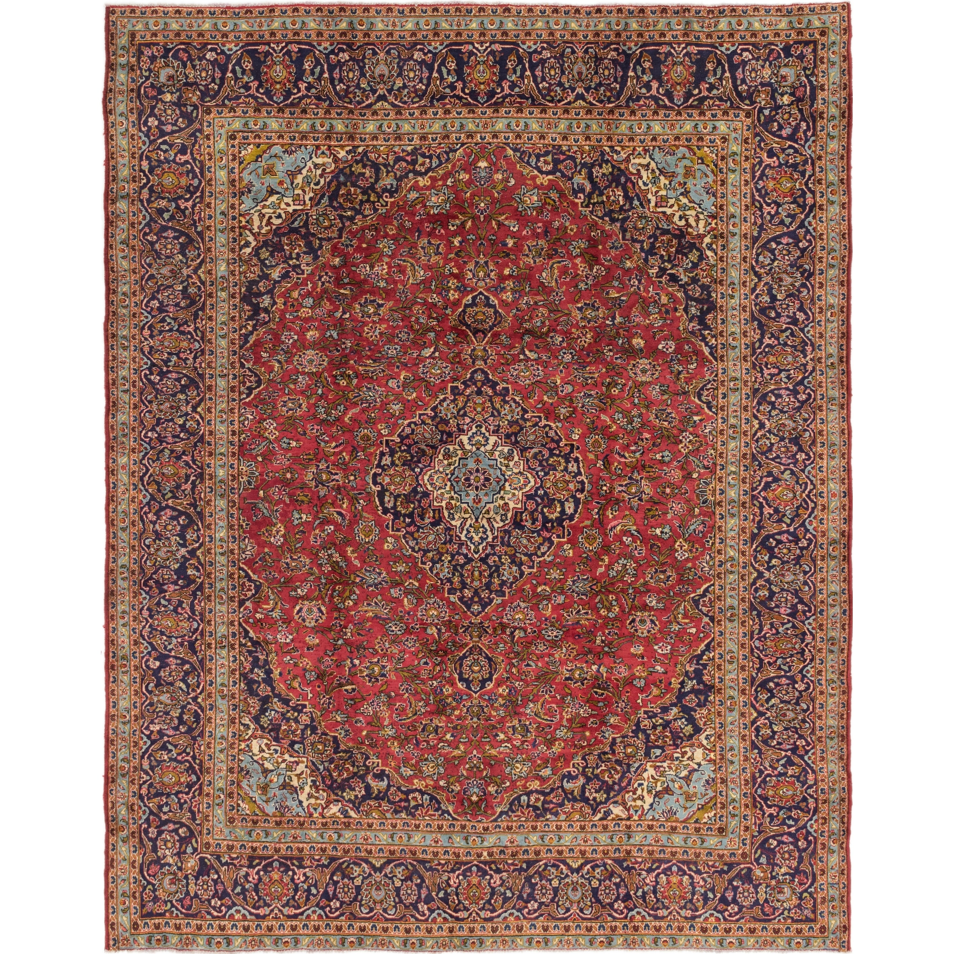 Hand Knotted Kashan Semi Antique Wool Area Rug - 9 10 x 12 2 (Red - 9 10 x 12 2)