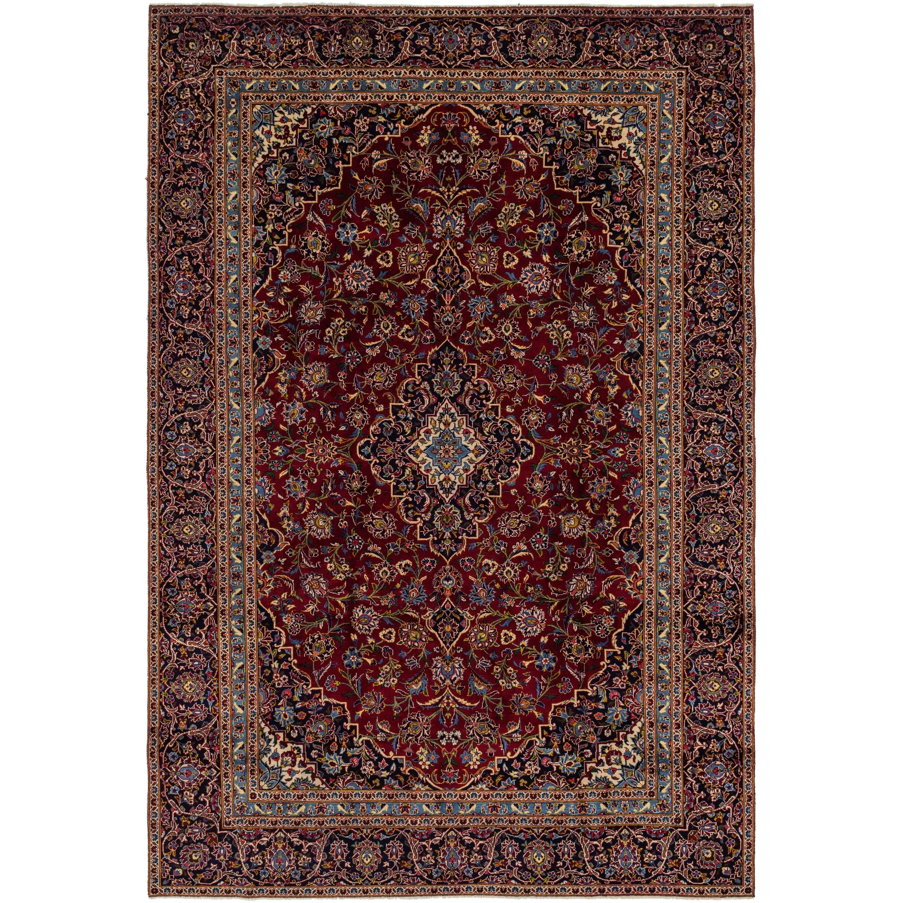 Hand Knotted Kashan Wool Area Rug - 8 9 x 13 (Red - 8 9 x 13)