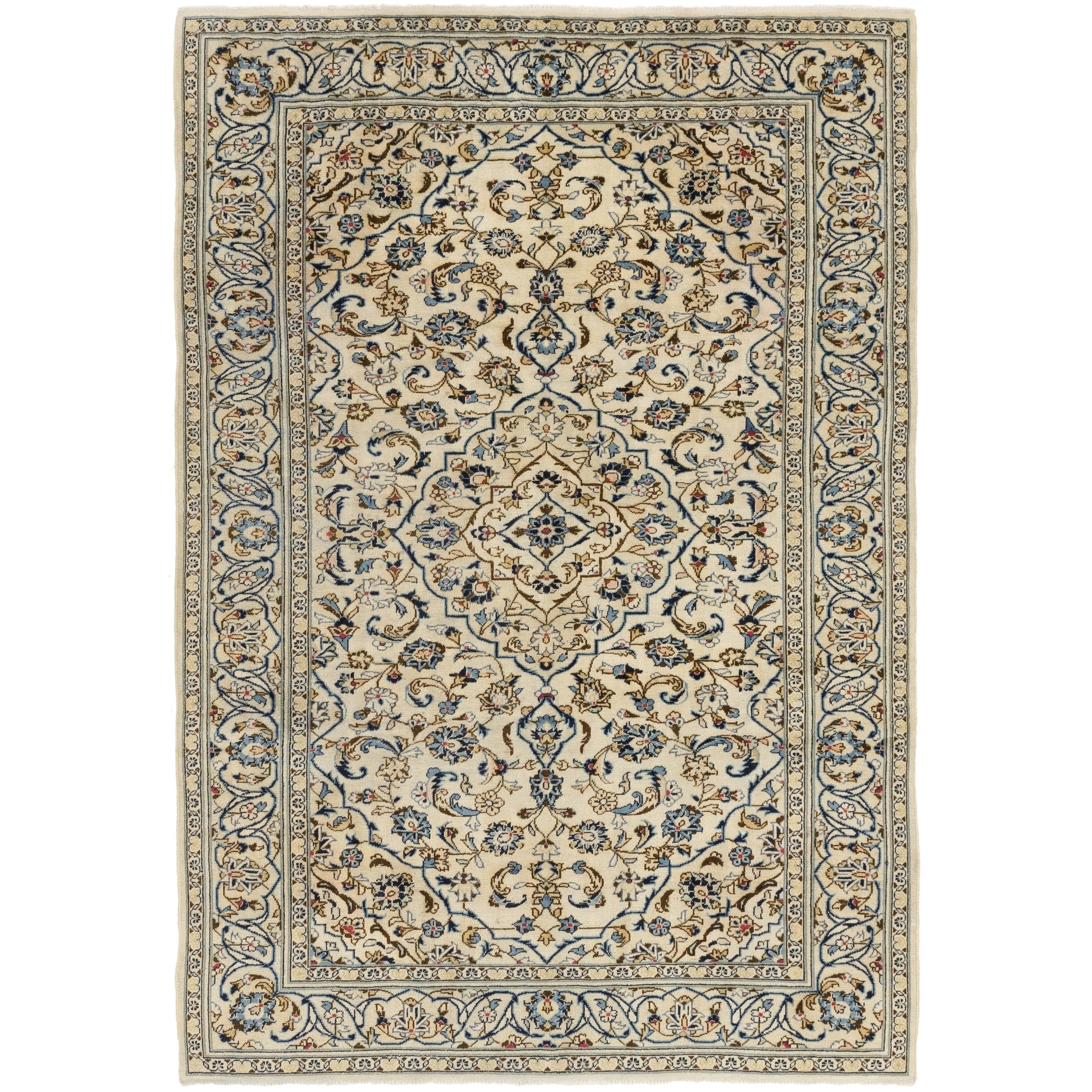 Hand Knotted Kashan Semi Antique Wool Area Rug - 6 6 x 9 4 (Cream - 6 6 x 9 4)