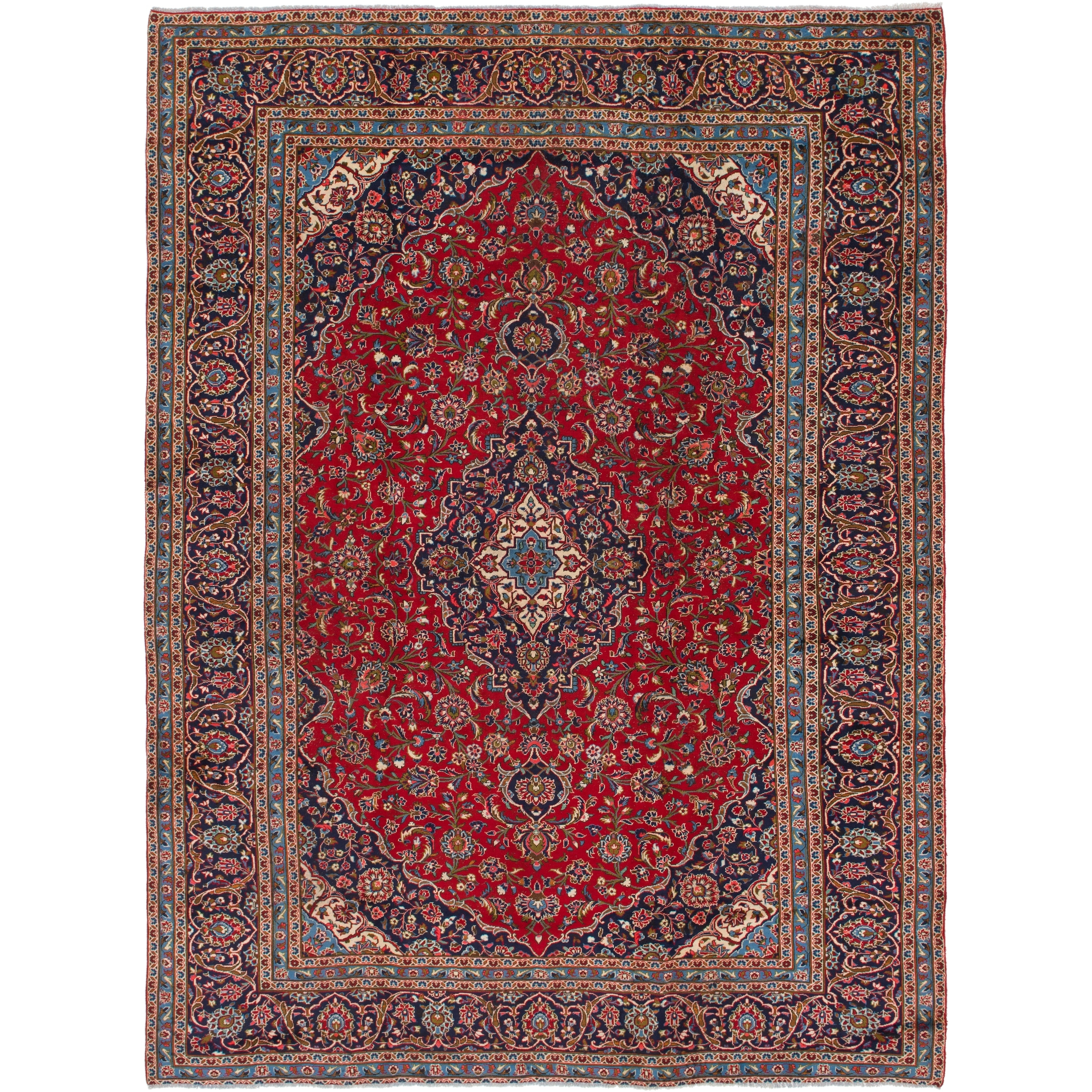 Hand Knotted Kashan Semi Antique Wool Area Rug - 9 7 x 12 7 (Red - 9 7 x 12 7)