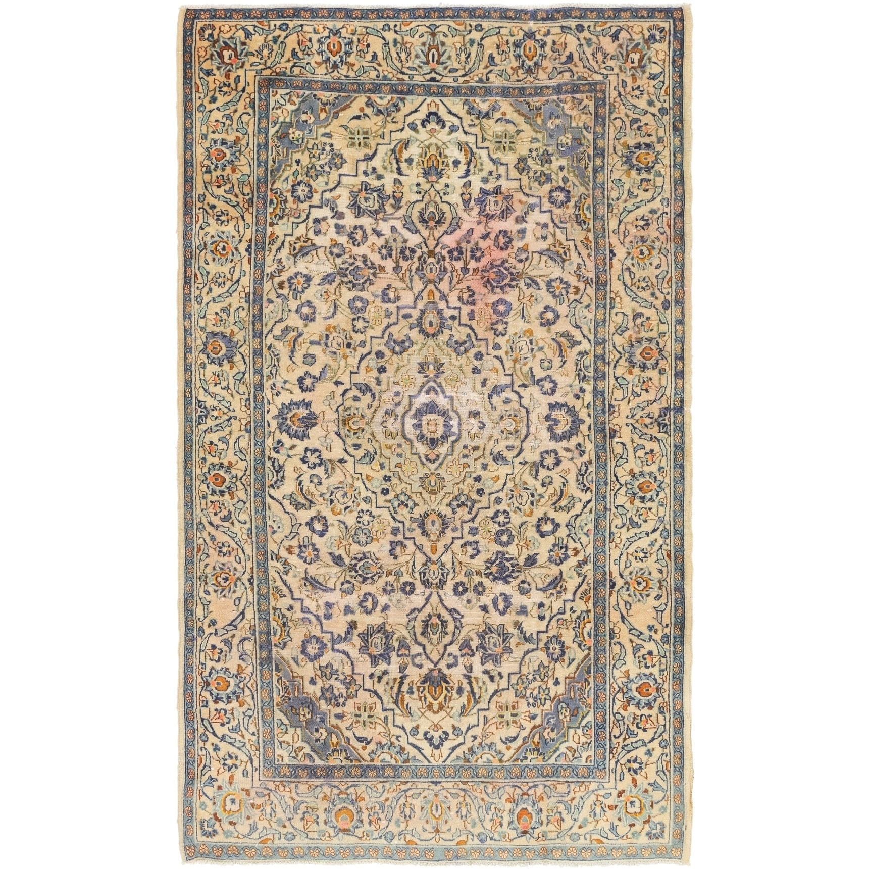 Hand Knotted Kashan Semi Antique Wool Area Rug - 4 10 x 8 3 (Beige - 4 10 x 8 3)