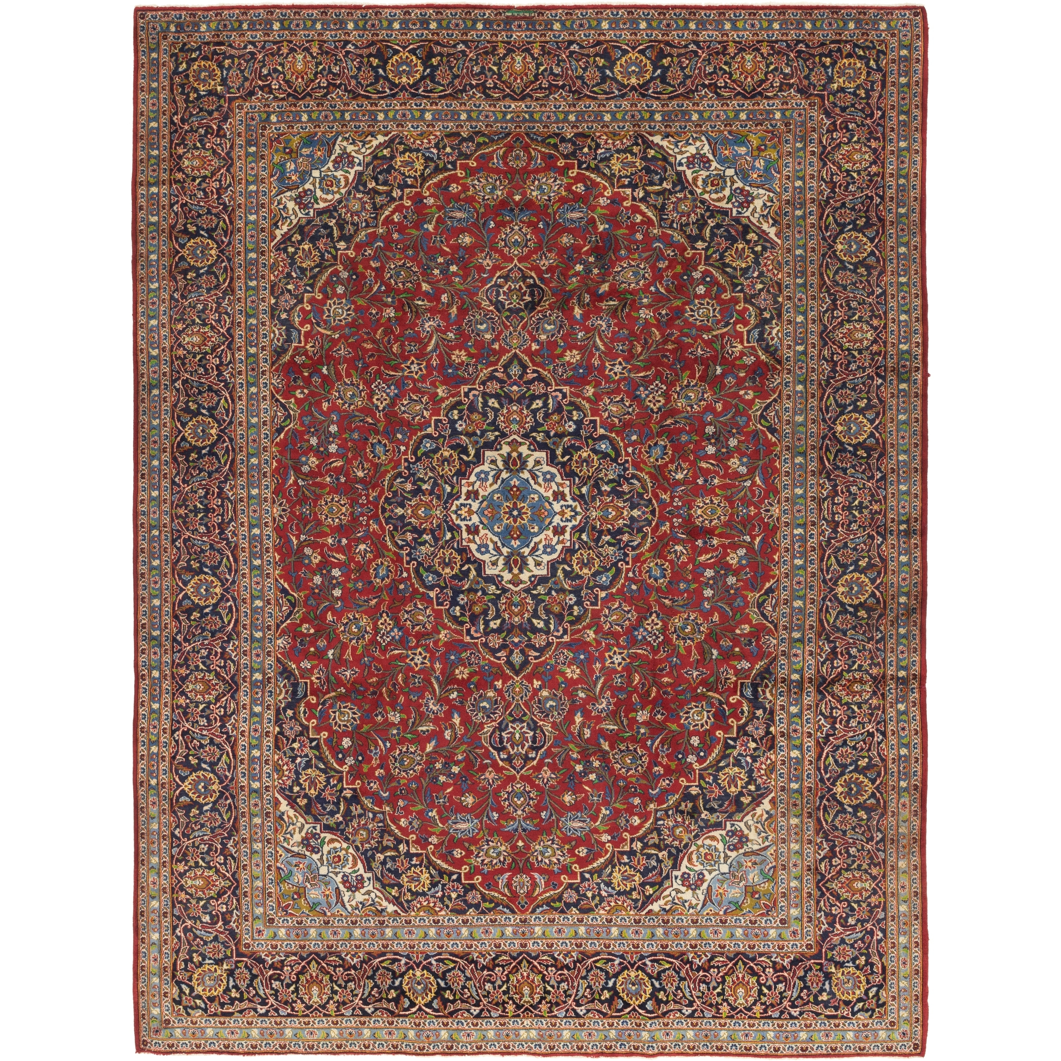 Hand Knotted Kashan Wool Area Rug - 9 10 x 13 (Red - 9 10 x 13)