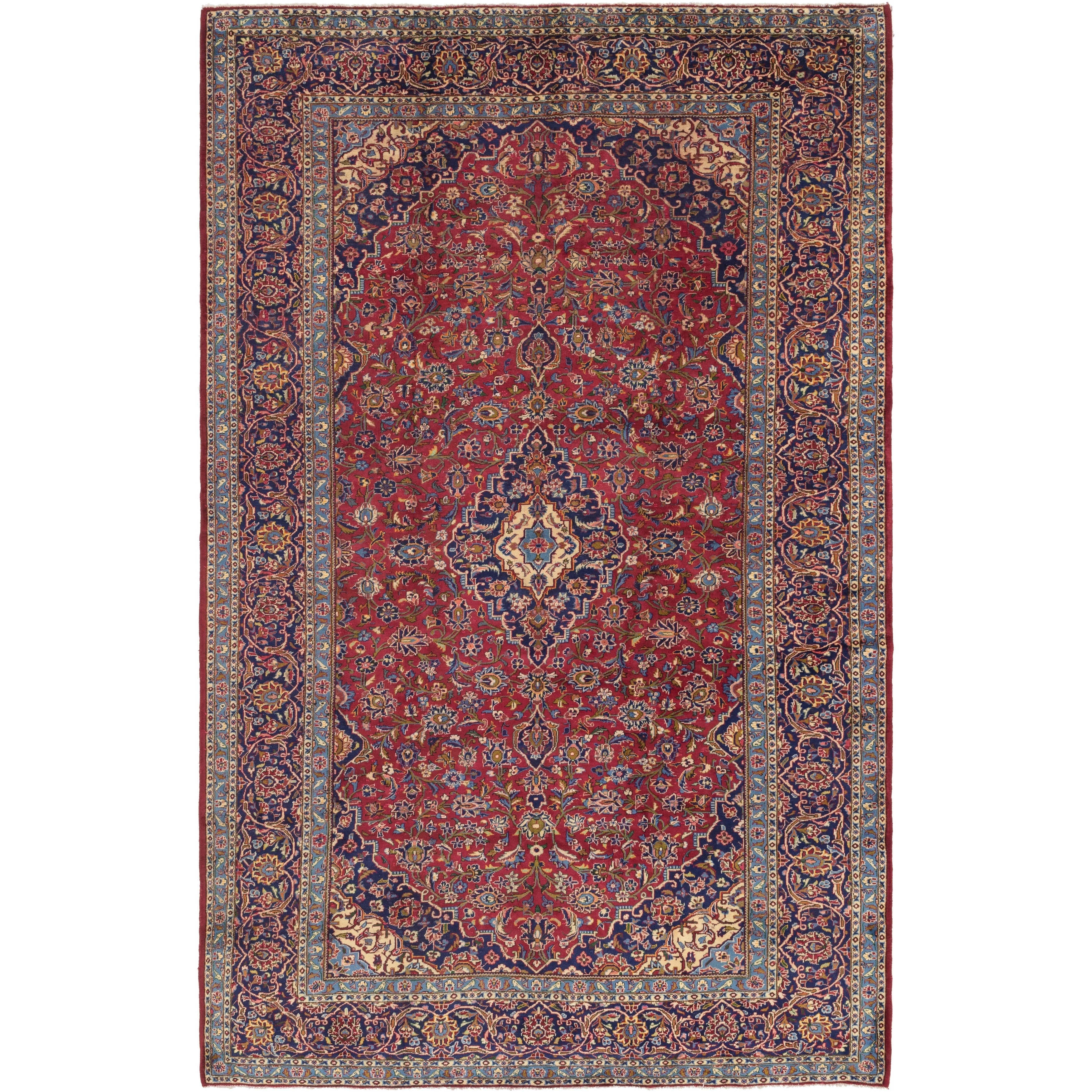 Hand Knotted Kashan Semi Antique Wool Area Rug - 9 10 x 15 10 (Red - 9 10 x 15 10)