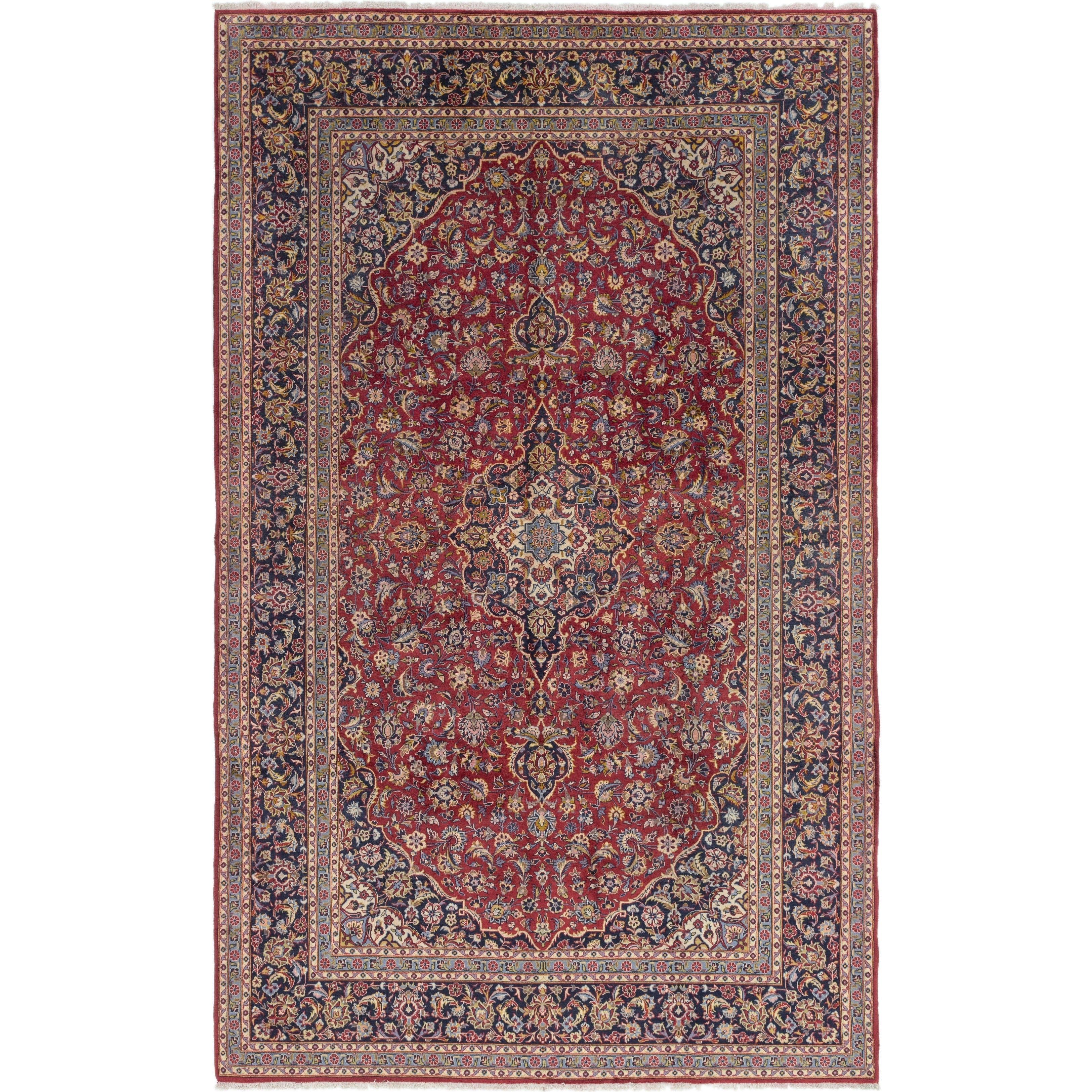 Hand Knotted Kashan Semi Antique Wool Area Rug - 9 9 x 15 10 (Red - 9 9 x 15 10)