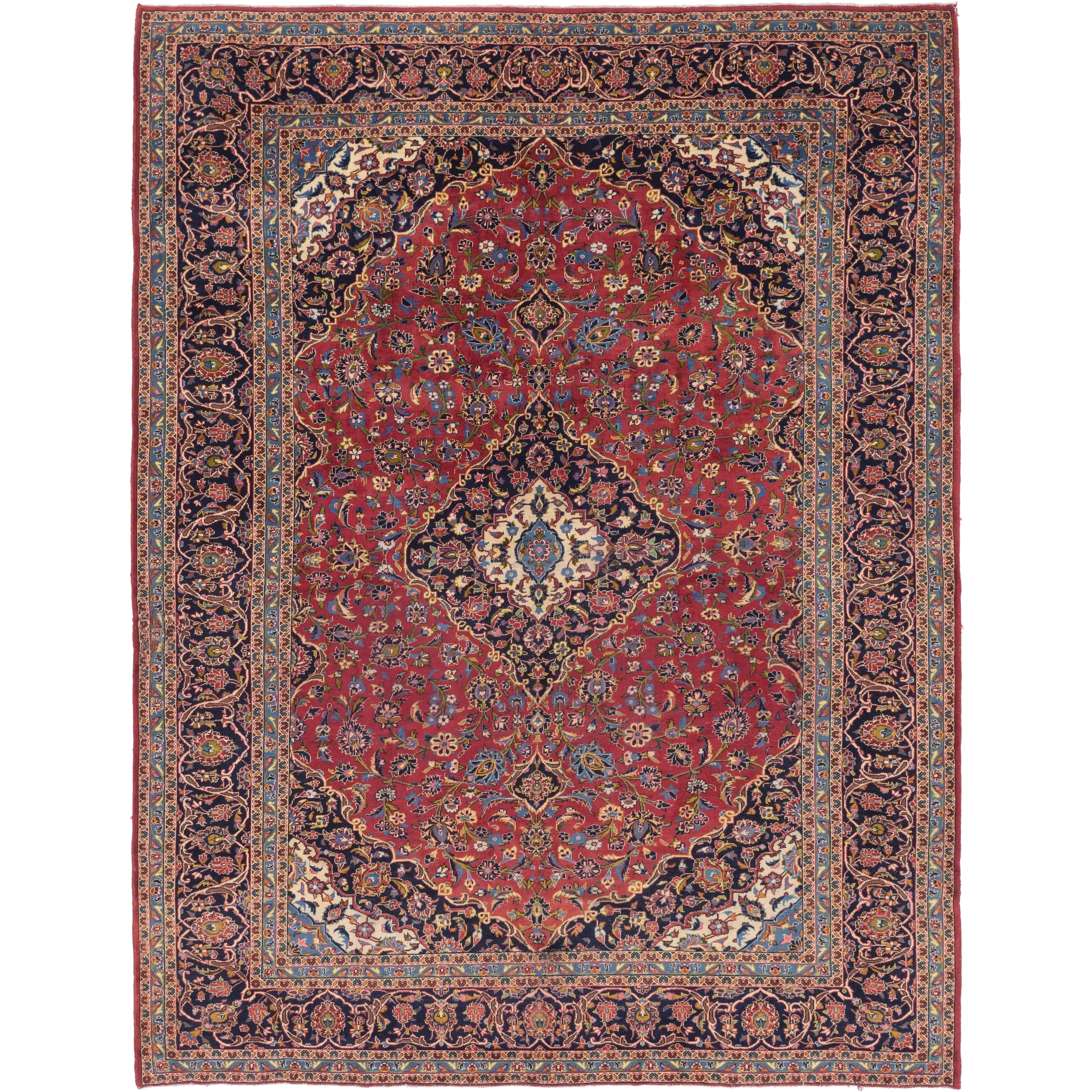 Hand Knotted Kashan Semi Antique Wool Area Rug - 9 10 x 13 6 (Red - 9 10 x 13 6)