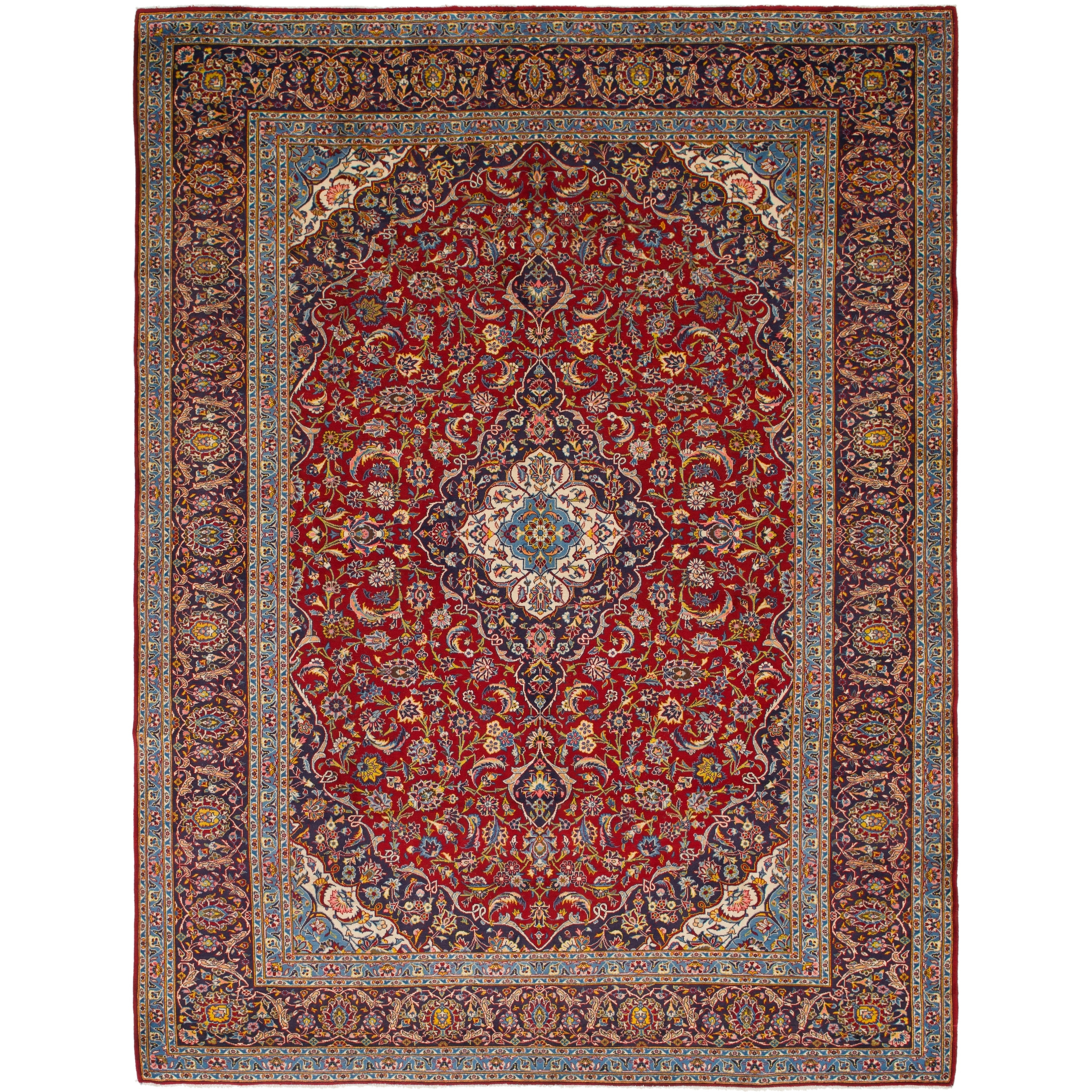 Hand Knotted Kashan Semi Antique Wool Area Rug - 10 x 13 2 (Red - 10 x 13 2)