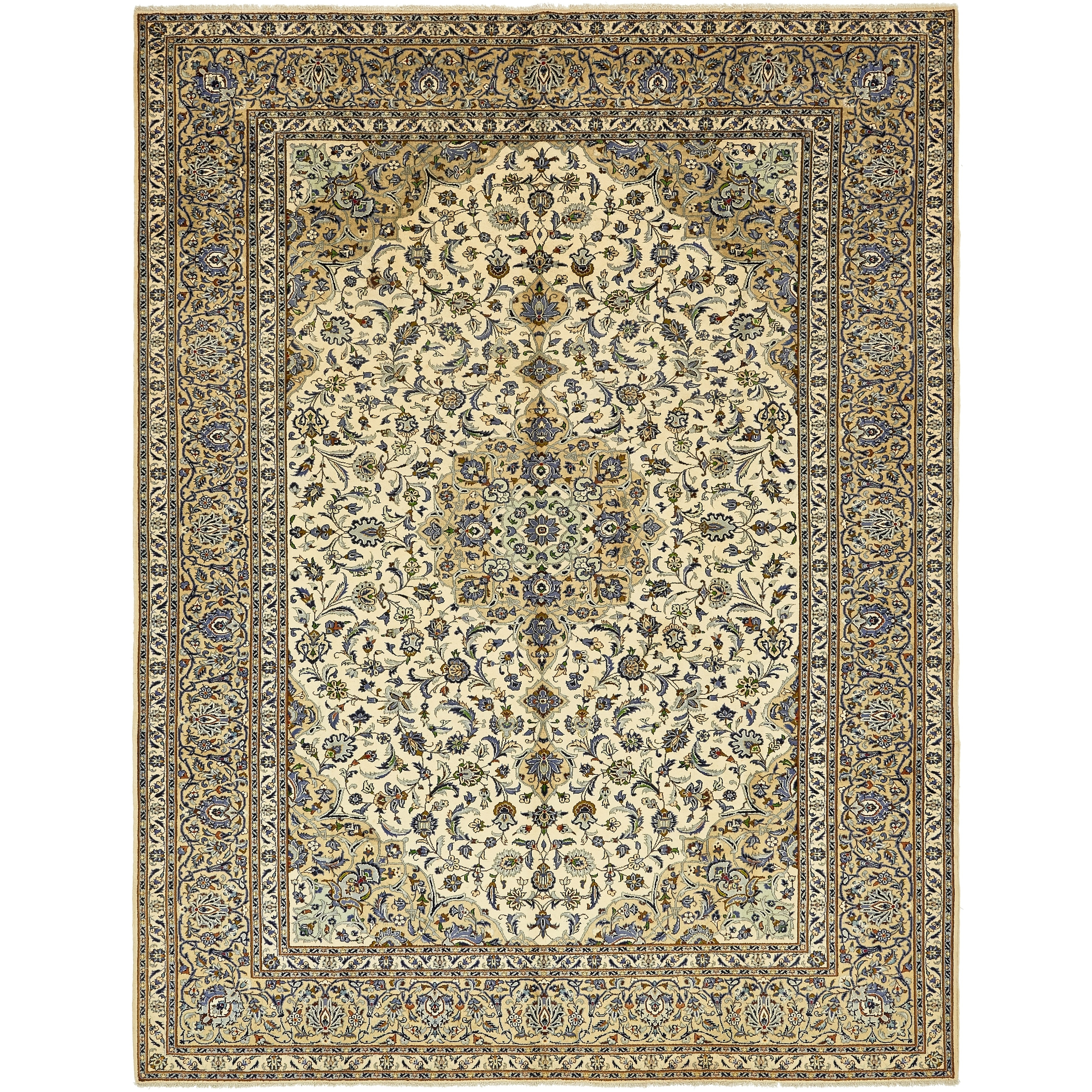 Hand Knotted Kashan Semi Antique Wool Area Rug - 9 9 x 12 10 (Ivory - 9 9 x 12 10)