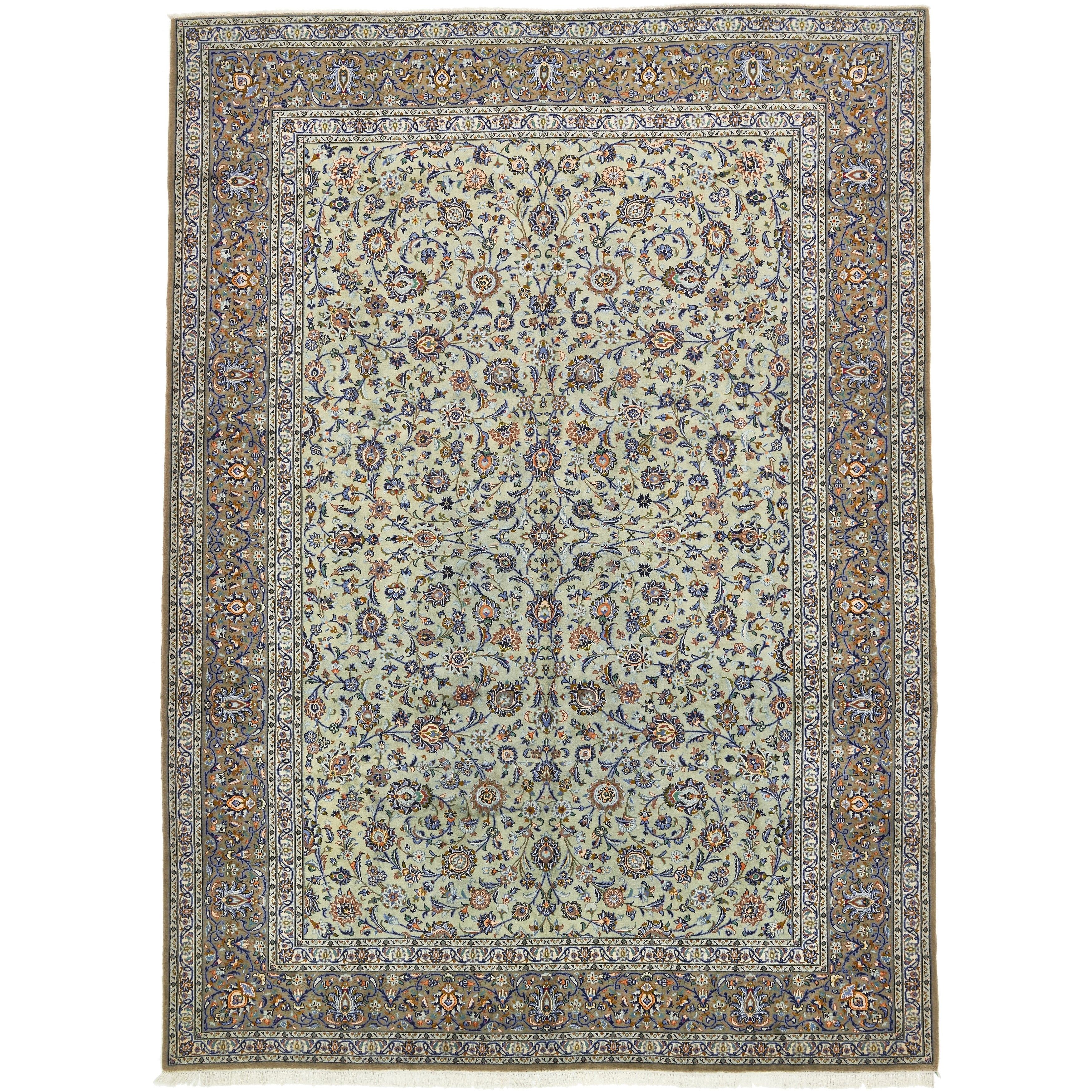 Hand Knotted Kashan Semi Antique Wool Area Rug - 10 2 x 14 (LIGHT GREEN - 10 2 x 14)