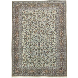 Hand Knotted Kashan Semi Antique Wool Area Rug - 10' 2 x 14'