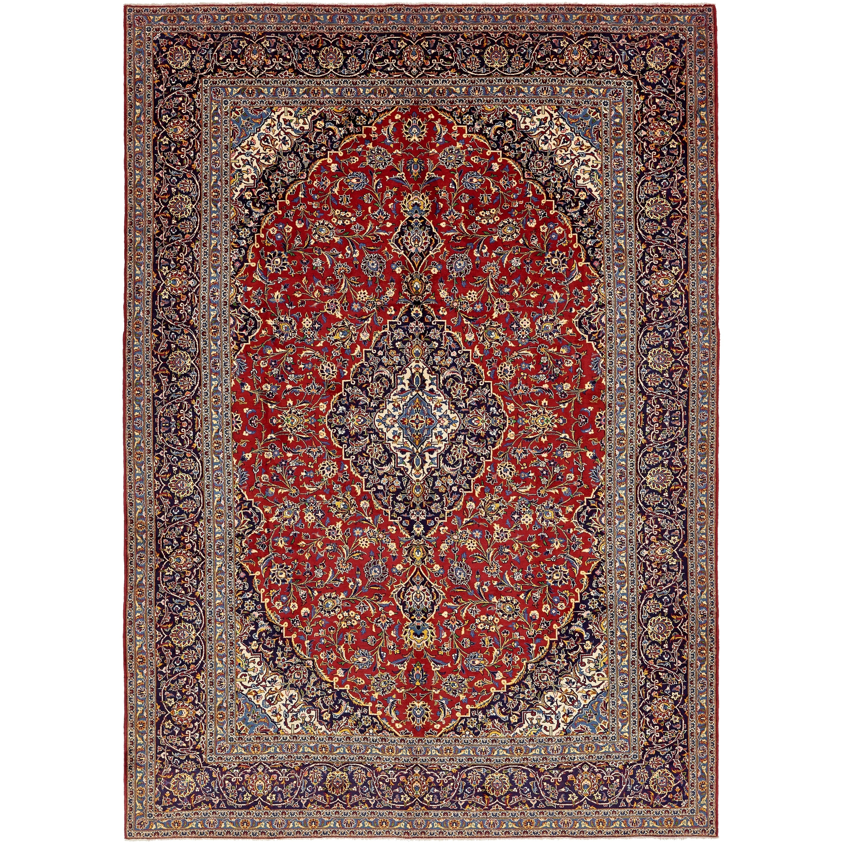 Hand Knotted Kashan Semi Antique Wool Area Rug - 10 2 x 14 4 (Red - 10 2 x 14 4)