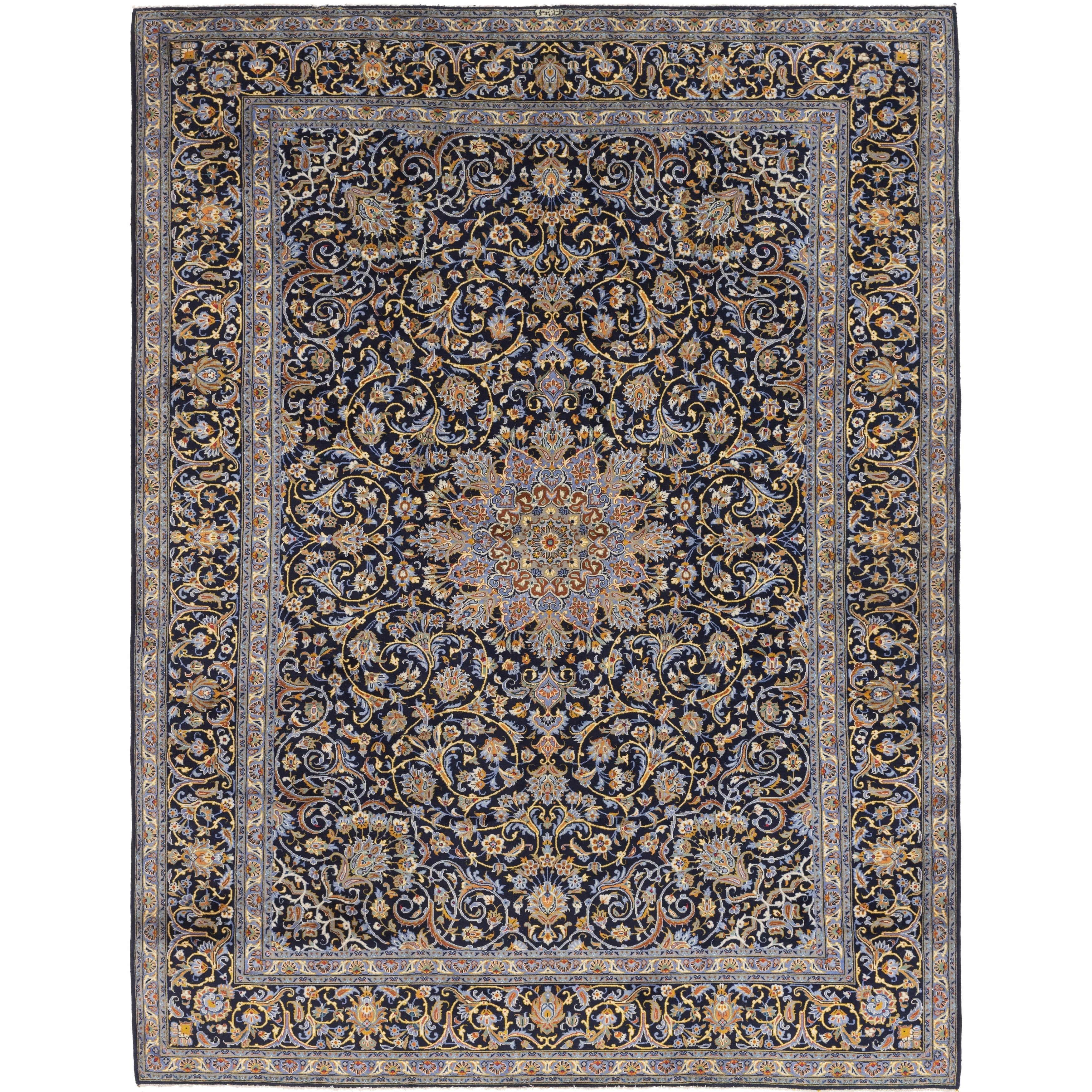 Hand Knotted Kashan Wool Area Rug - 10 2 x 13 4 (Navy blue - 10 2 x 13 4)
