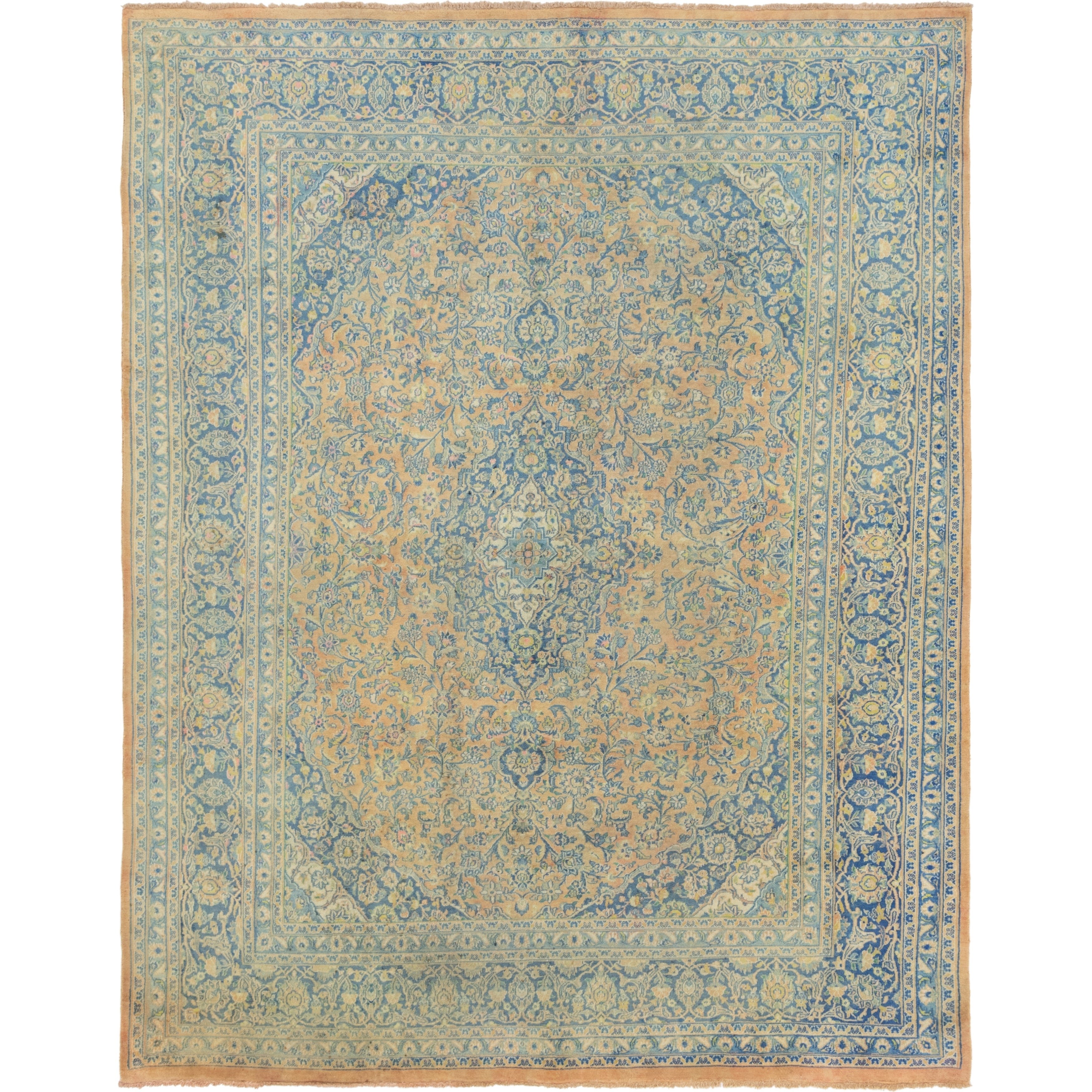 Hand Knotted Kashan Semi Antique Wool Area Rug - 9 6 x 12 (peach - 9 6 x 12)