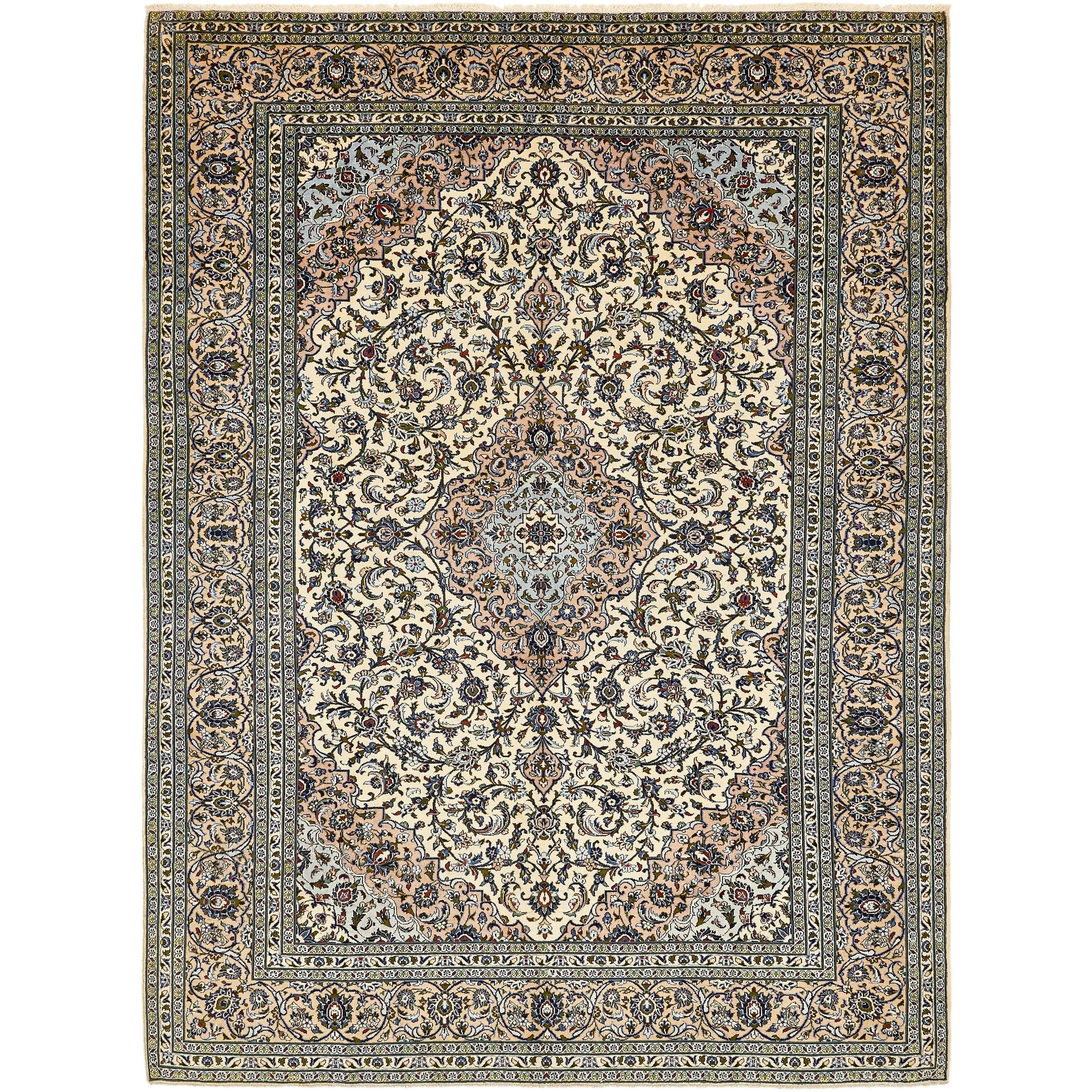 Hand Knotted Kashan Semi Antique Wool Area Rug - 9 7 x 13 (Ivory - 9 7 x 13)