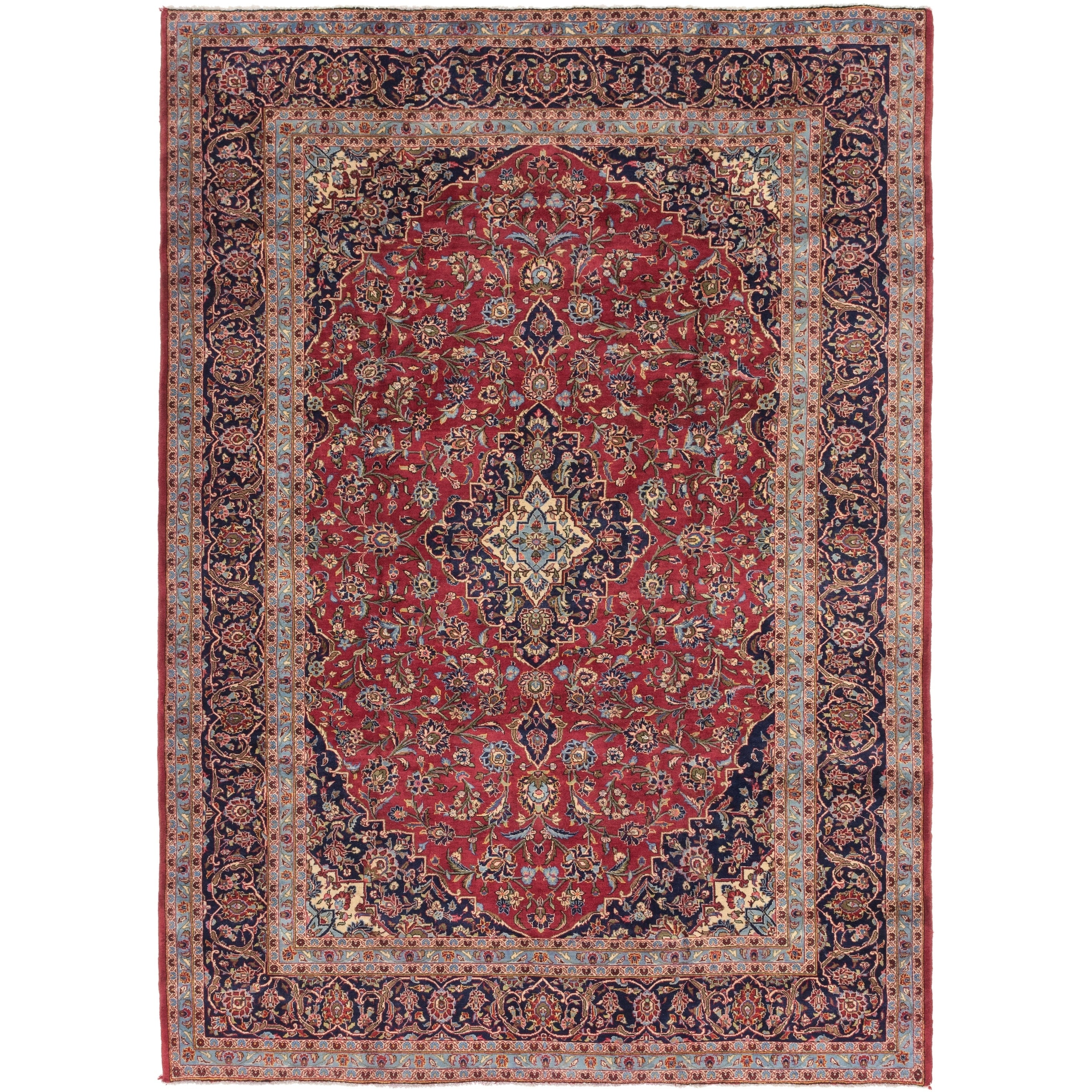 Hand Knotted Kashan Wool Area Rug - 8 2 x 11 4 (Red - 8 2 x 11 4)