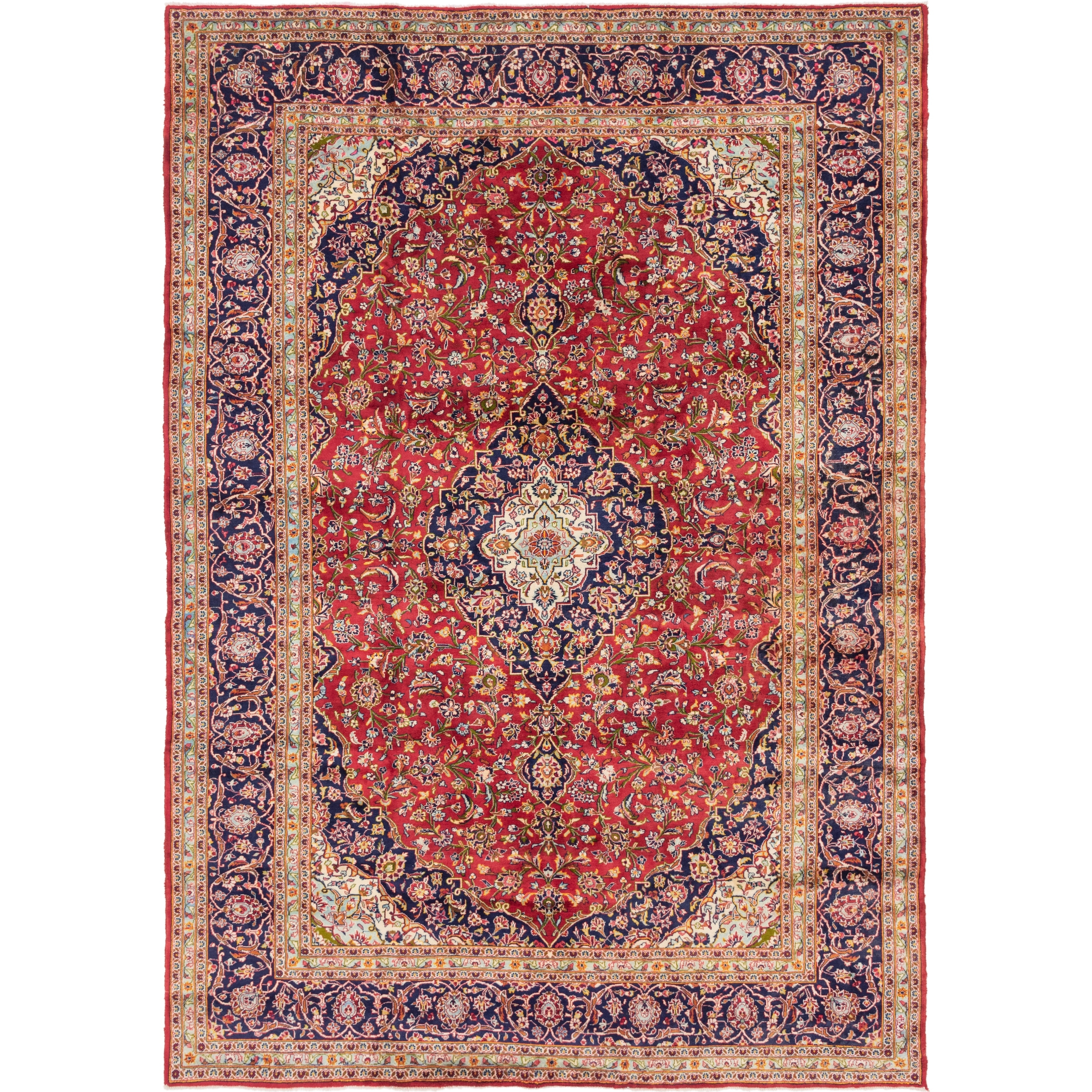 Hand Knotted Kashan Semi Antique Wool Area Rug - 9 9 x 13 9 (Red - 9 9 x 13 9)