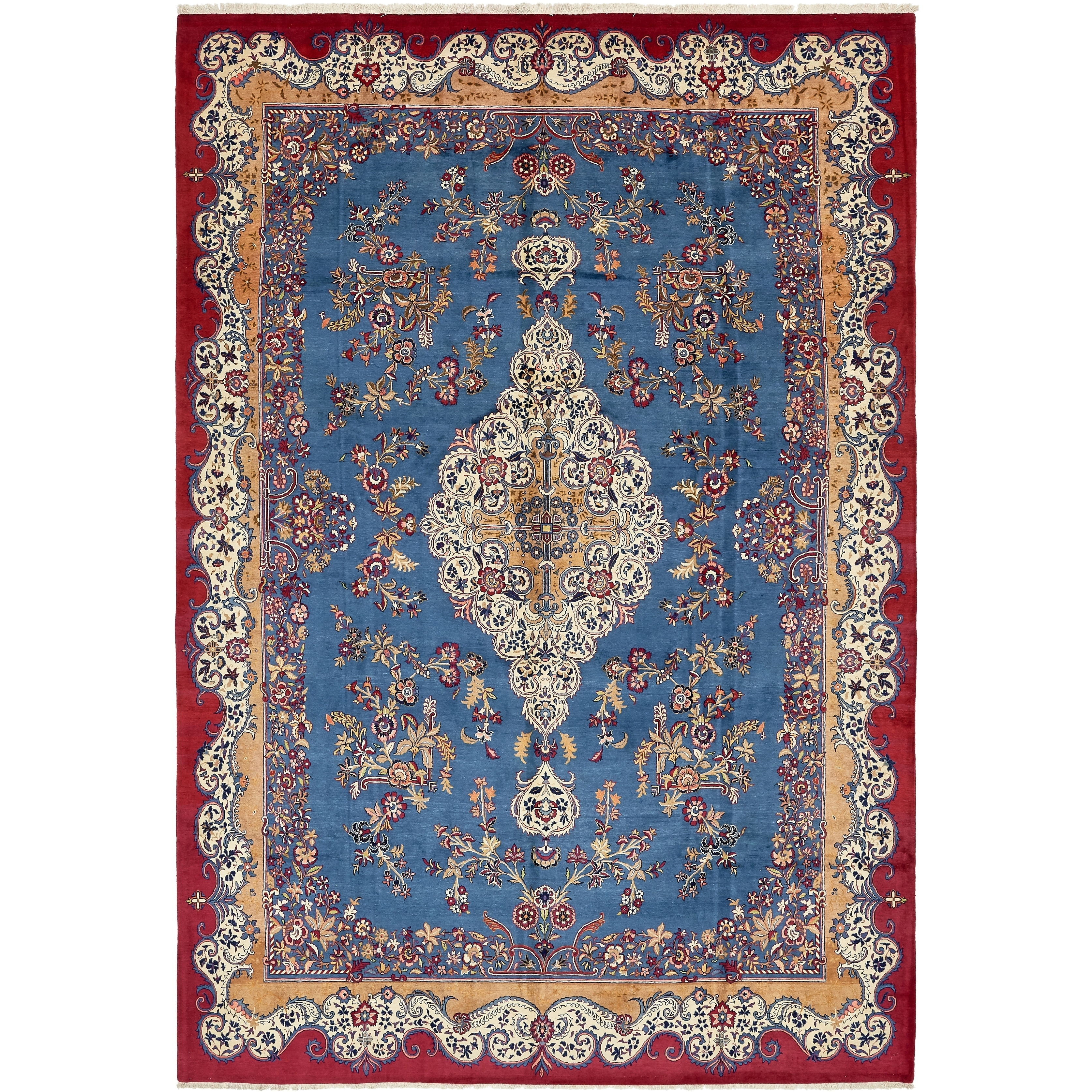 Hand Knotted Kashan Semi Antique Wool Area Rug - 9 x 13 3 (Blue - 9 x 13 3)