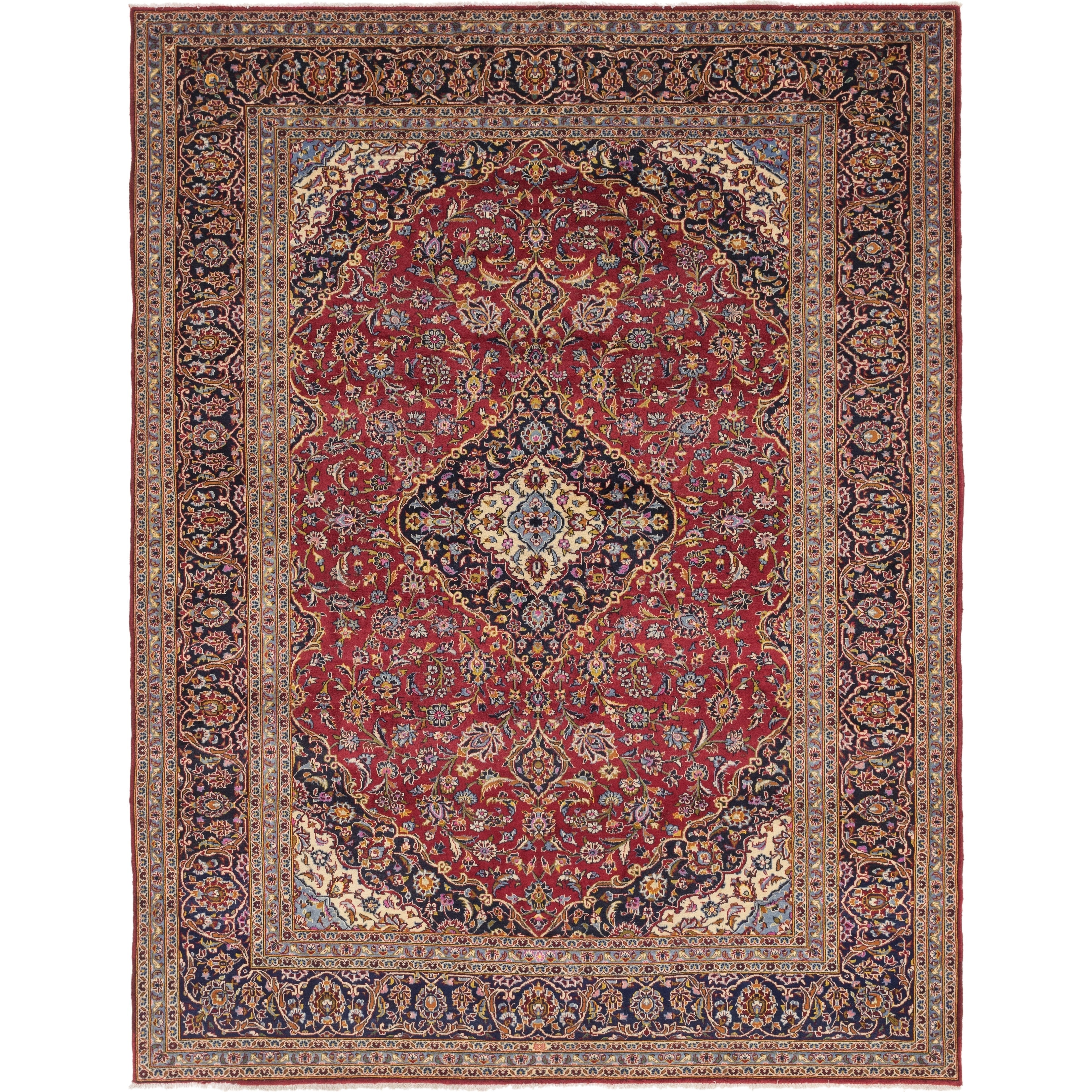 Hand Knotted Kashan Wool Area Rug - 10 x 12 10 (Red - 10 x 12 10)