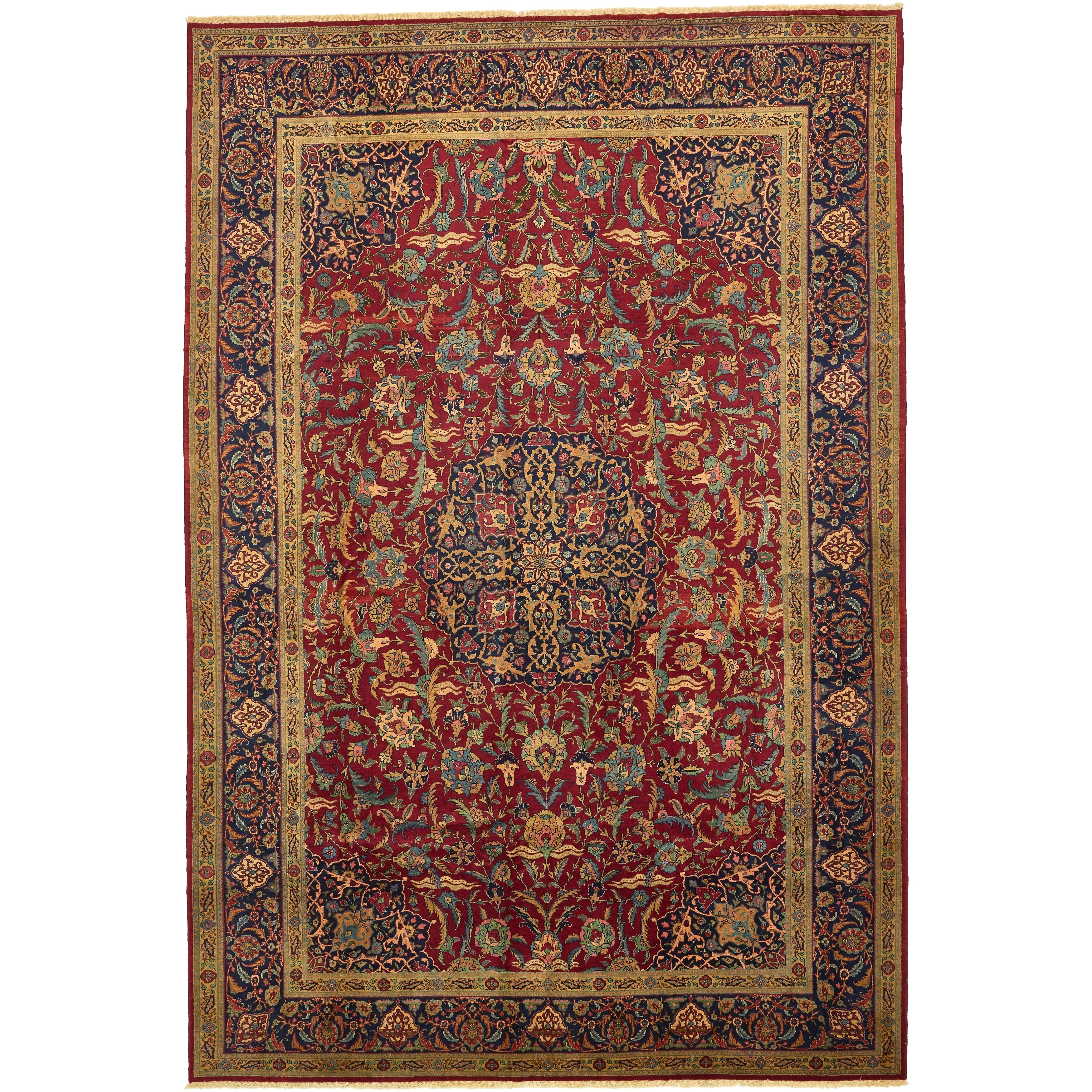 Hand Knotted Kashan Semi Antique Wool Area Rug - 11 x 16 6 (Red - 11 x 16 6)