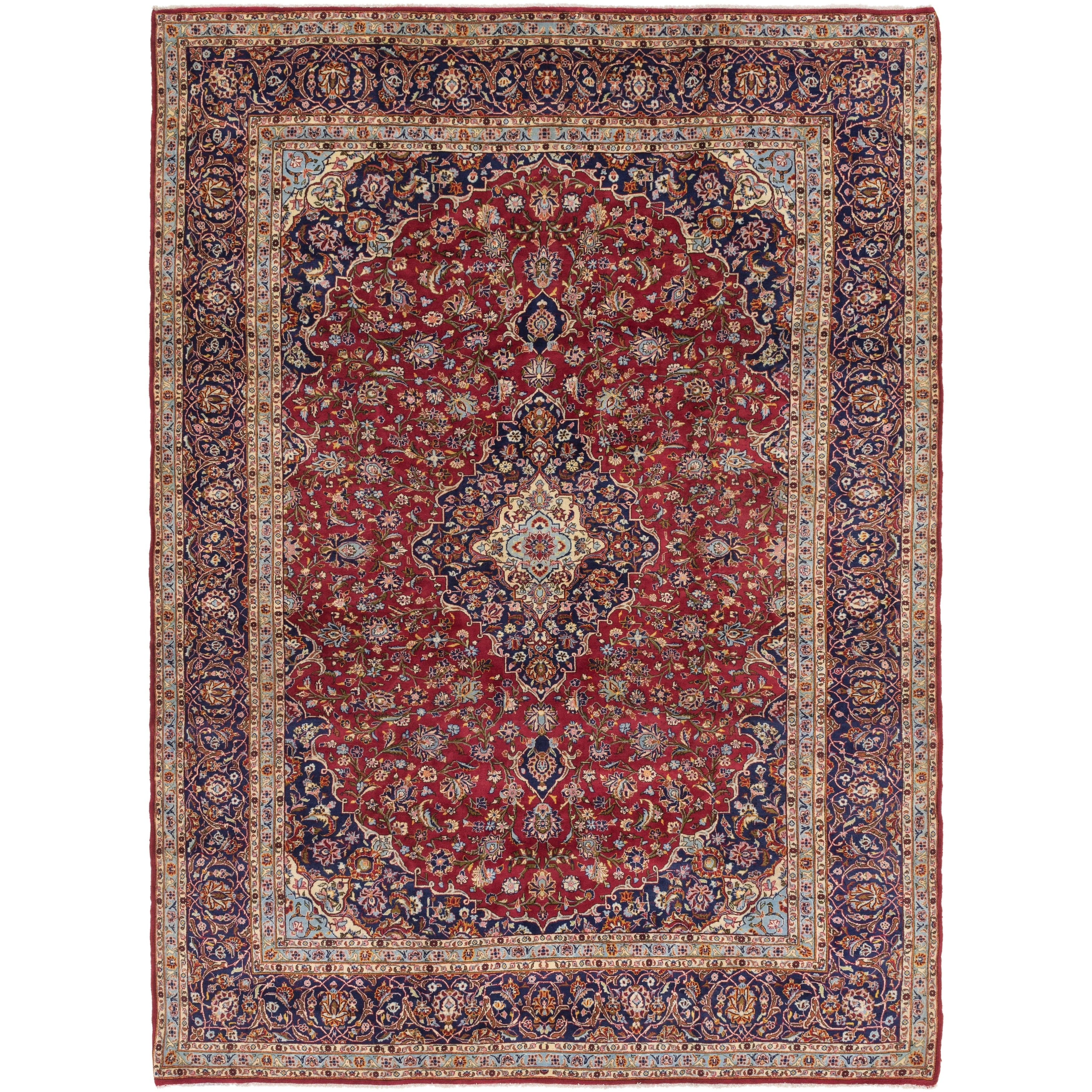 Hand Knotted Kashan Wool Area Rug - 10 x 13 10 (Red - 10 x 13 10)