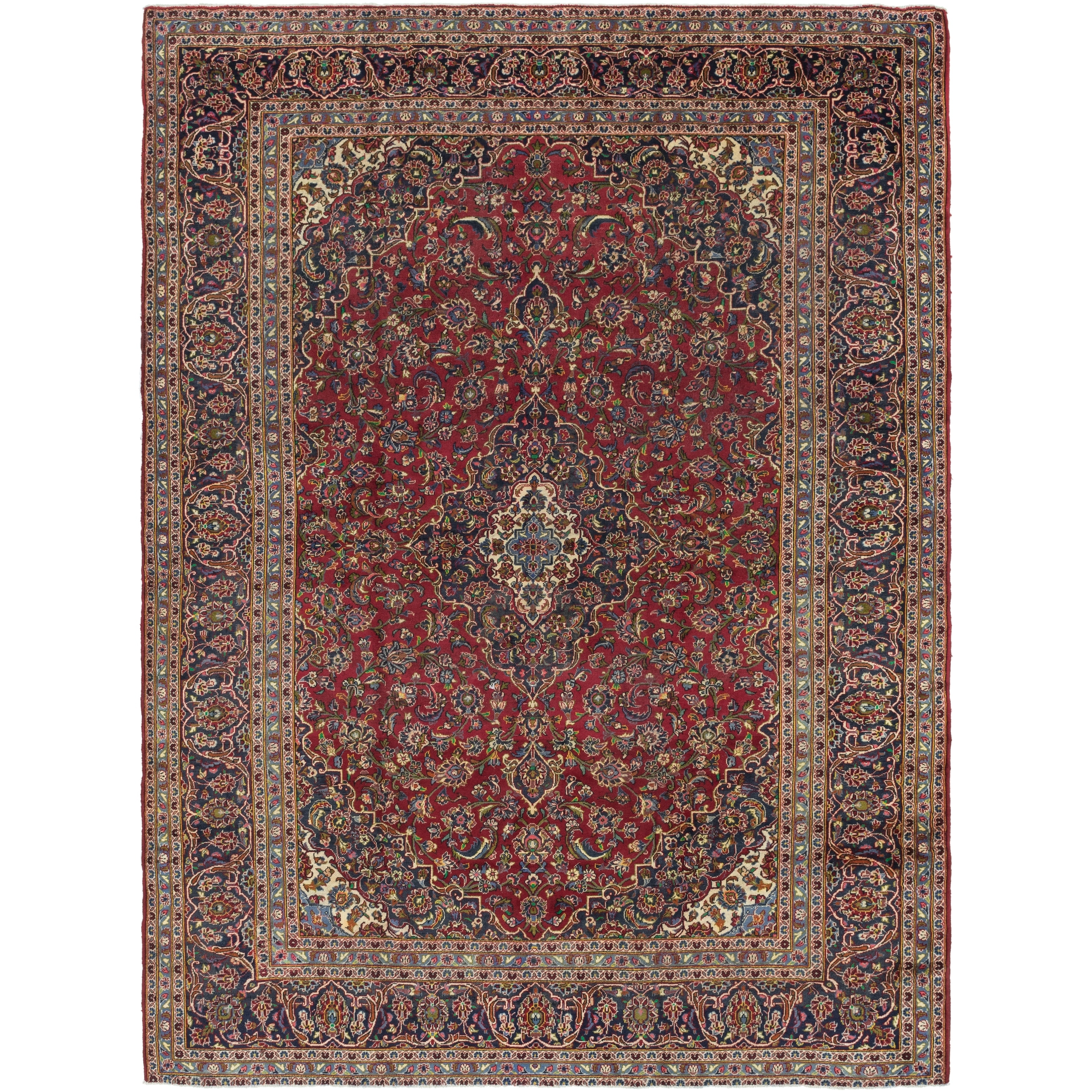 Hand Knotted Kashan Semi Antique Wool Area Rug - 9 4 x 12 10 (Red - 9 4 x 12 10)