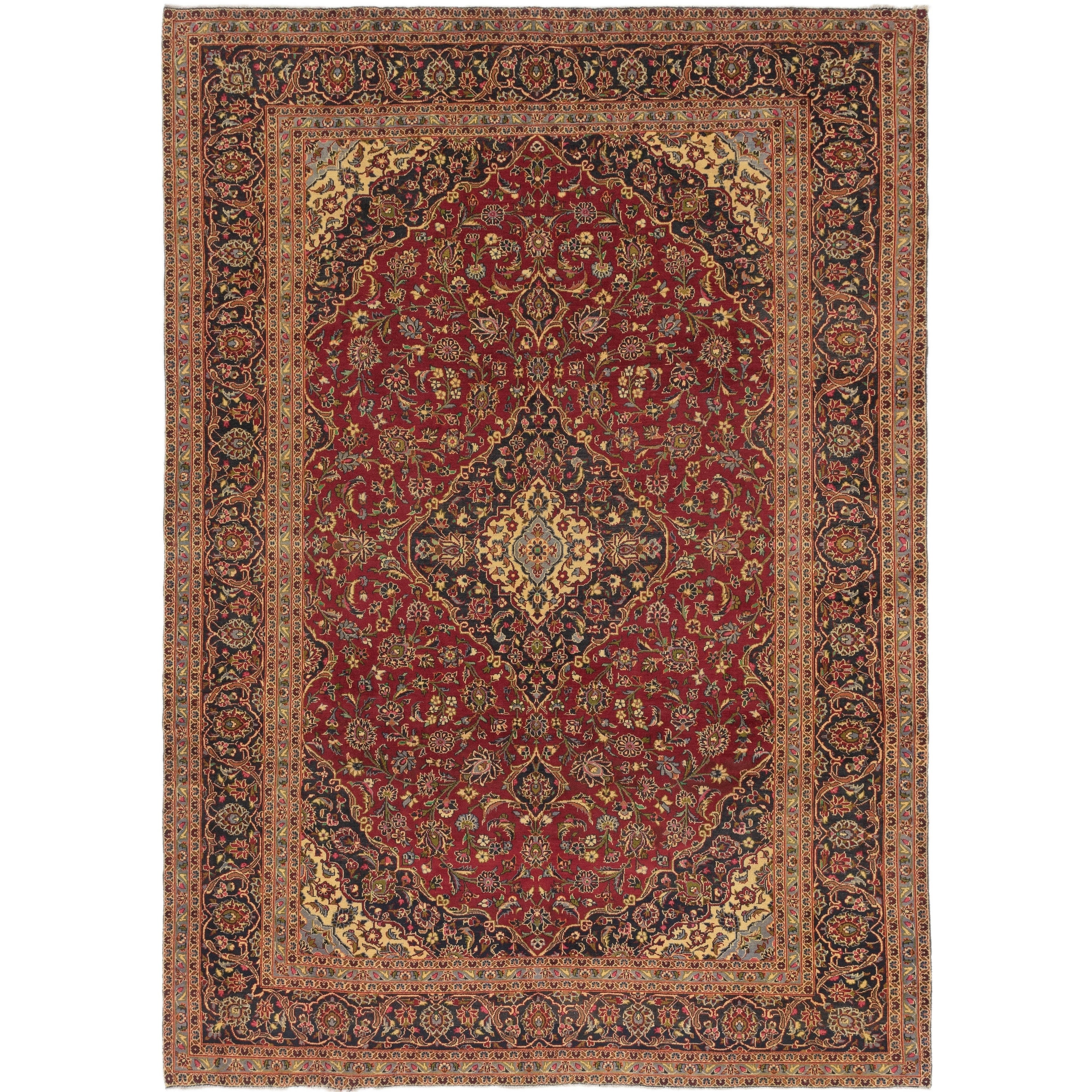 Hand Knotted Kashan Wool Area Rug - 9 4 x 13 2 (Red - 9 4 x 13 2)