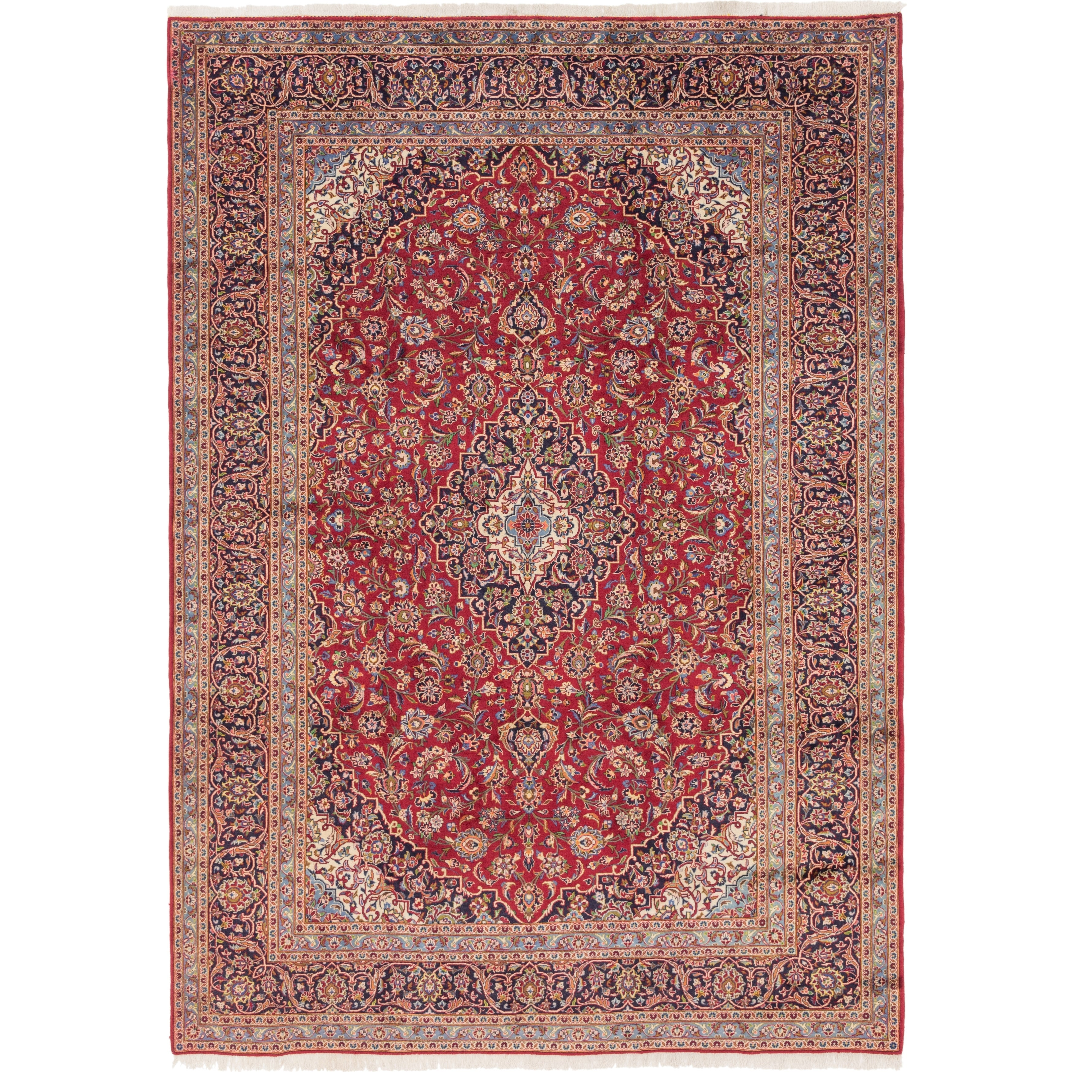 Hand Knotted Kashan Wool Area Rug - 9 5 x 12 3 (Red - 9 5 x 12 3)