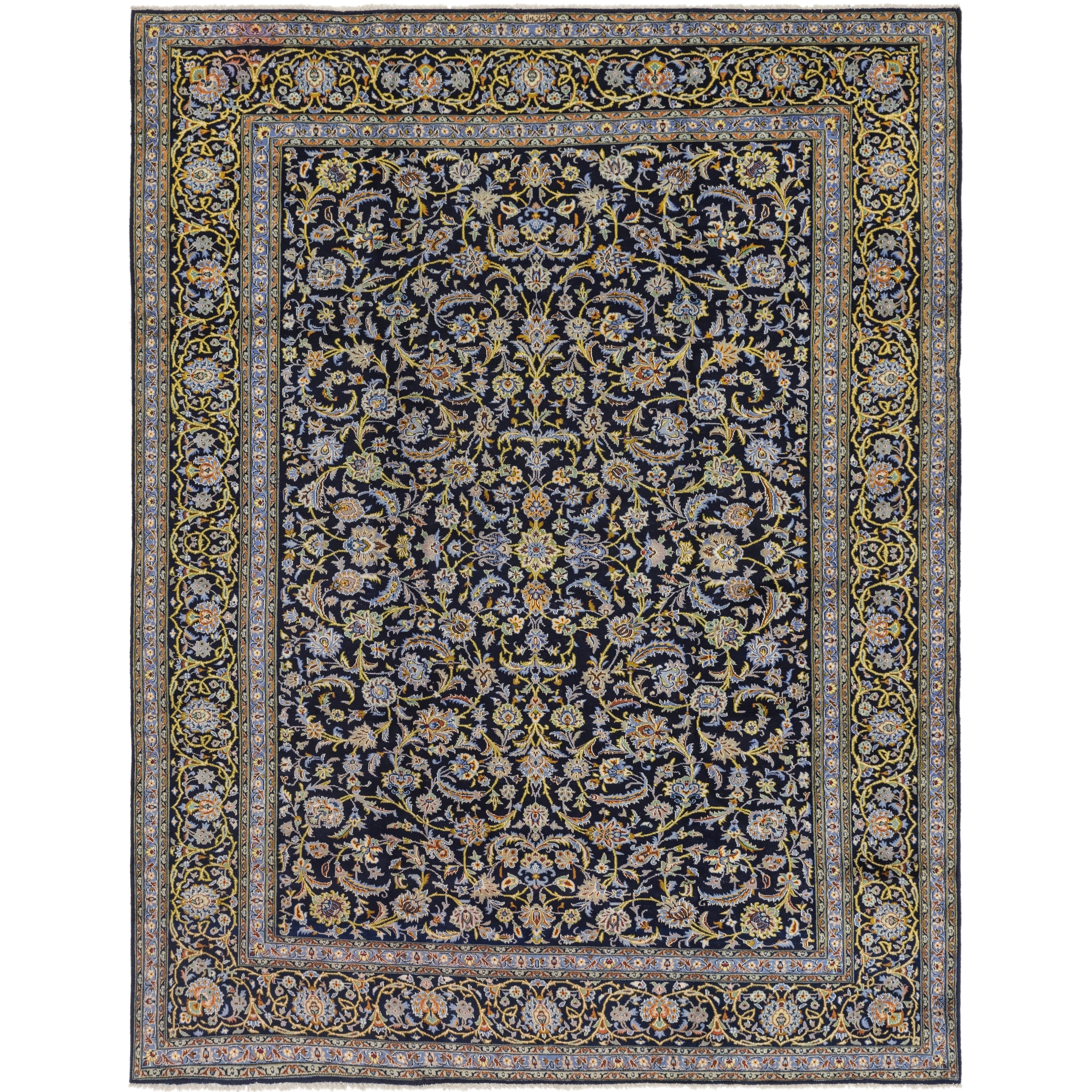 Hand Knotted Kashan Wool Area Rug - 10 x 12 10 (Navy blue - 10 x 12 10)