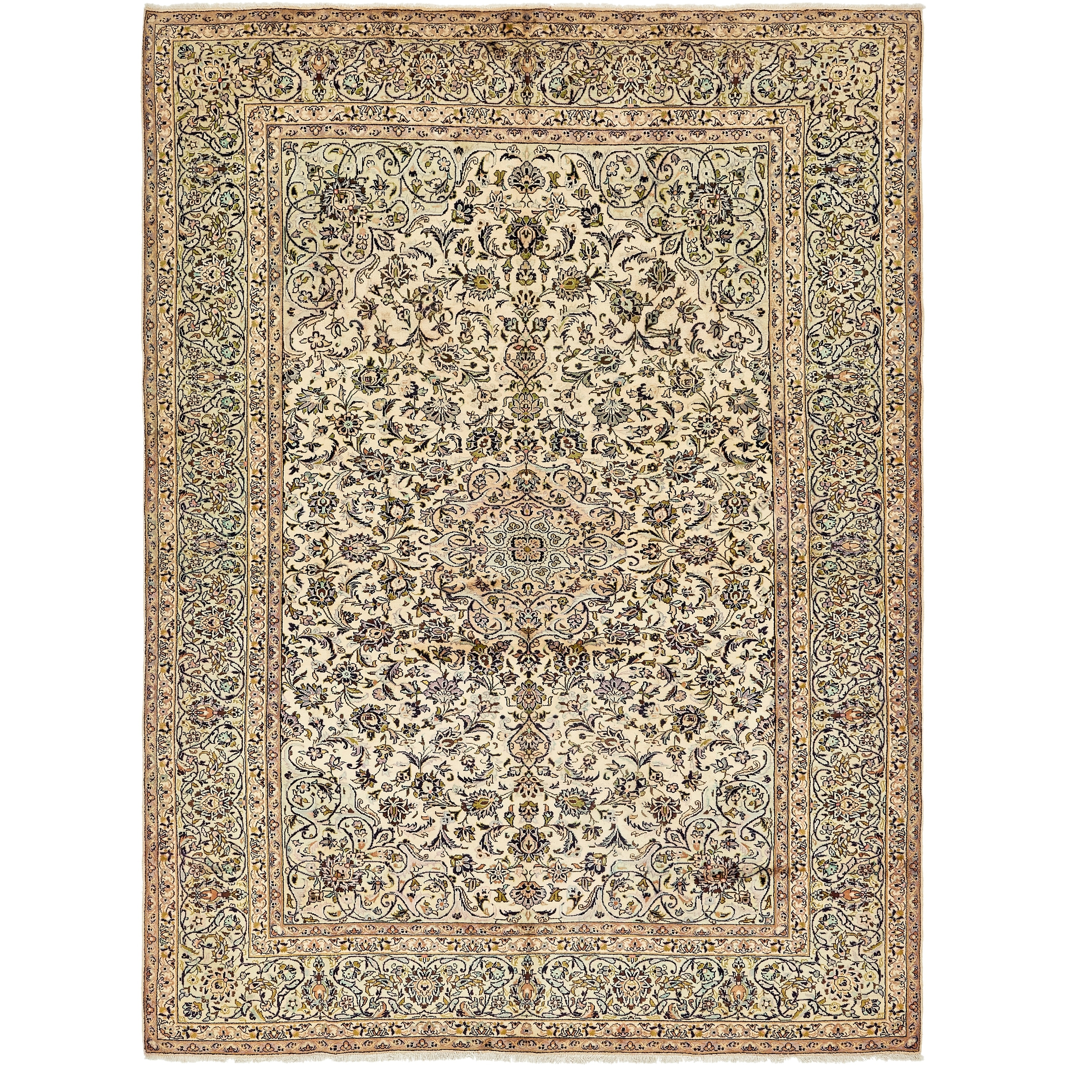 Hand Knotted Kashan Semi Antique Wool Area Rug - 9 7 x 12 9 (Ivory - 9 7 x 12 9)