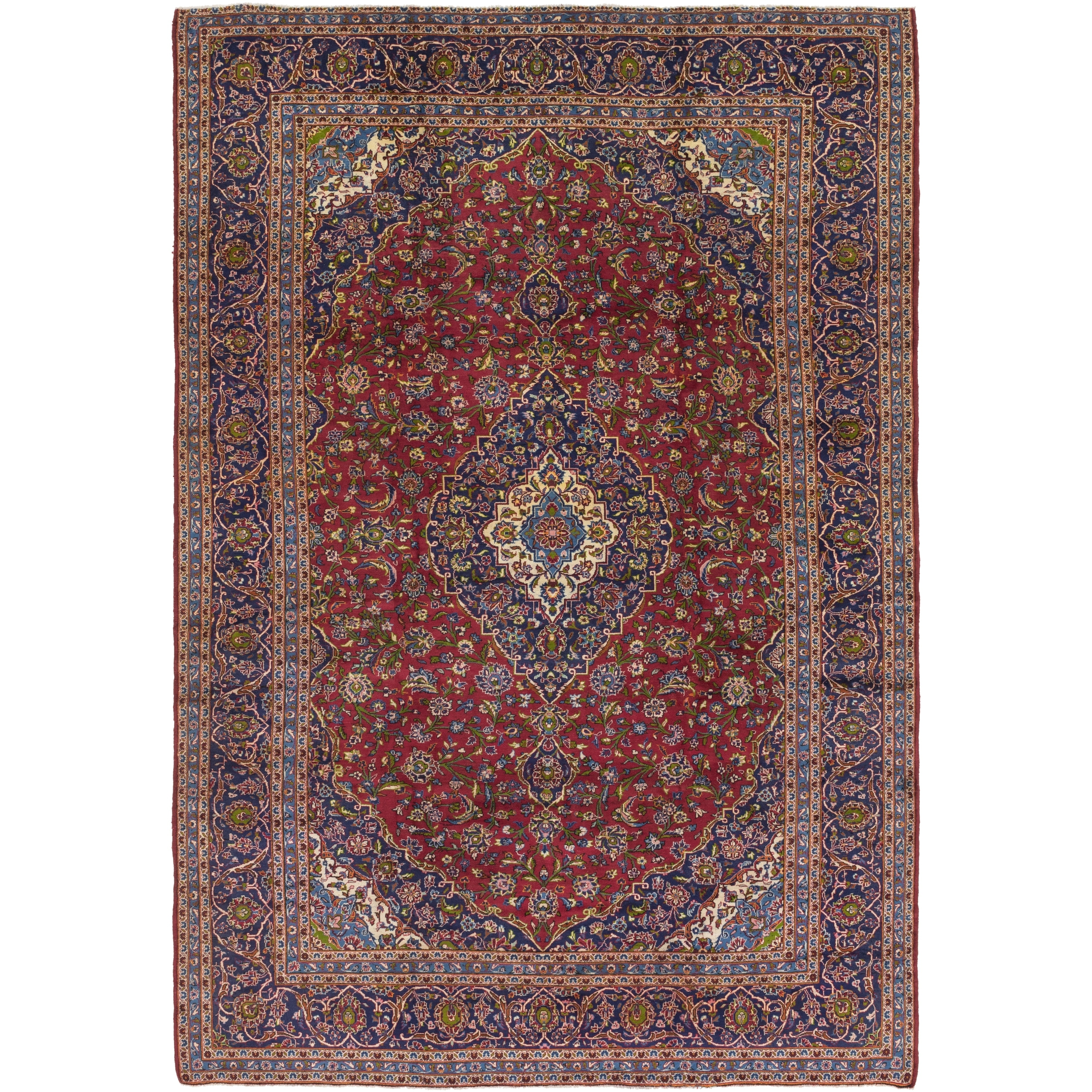 Hand Knotted Kashan Semi Antique Wool Area Rug - 9 8 x 14 4 (Red - 9 8 x 14 4)