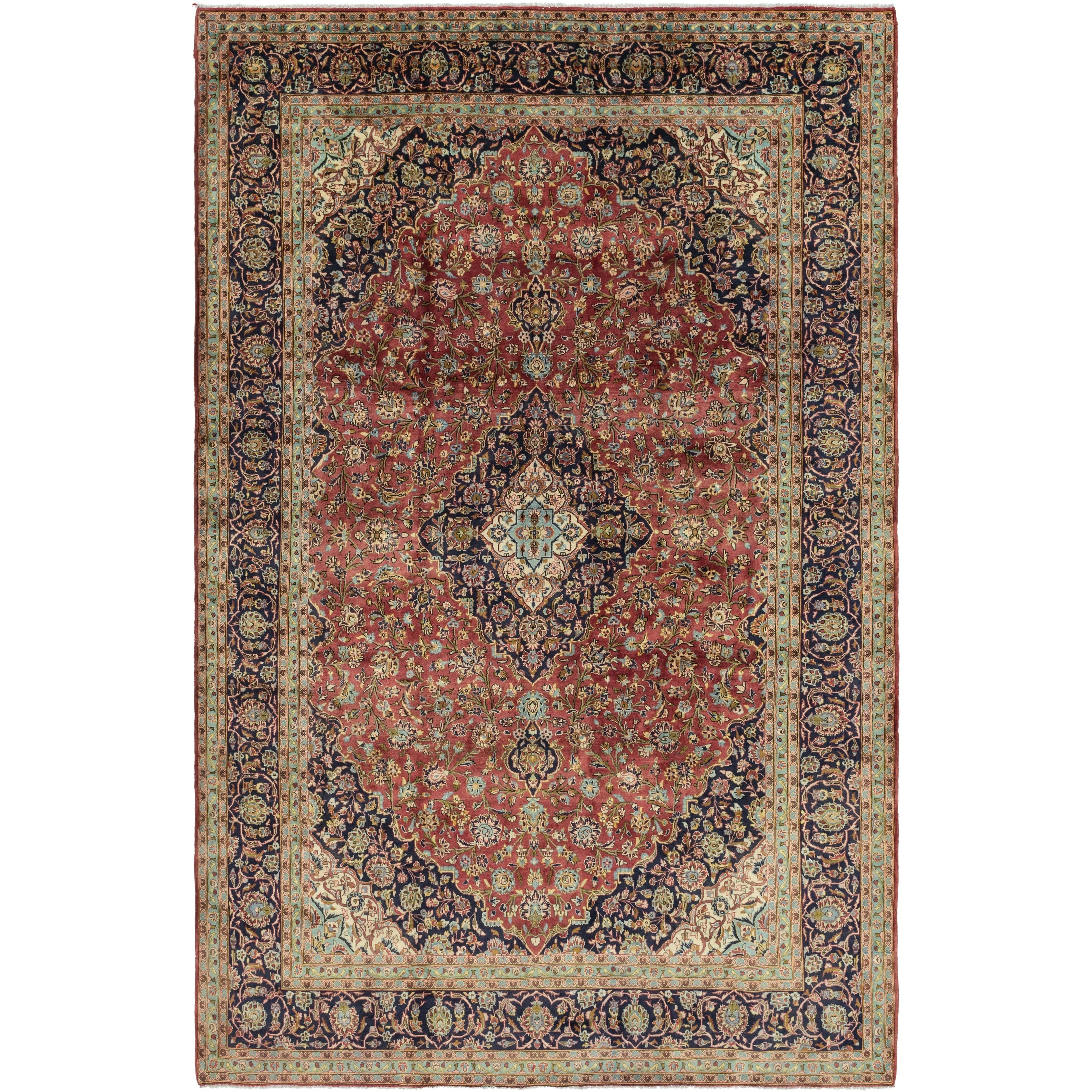 Hand Knotted Kashan Semi Antique Wool Area Rug - 9 10 x 15 (Red - 9 10 x 15)