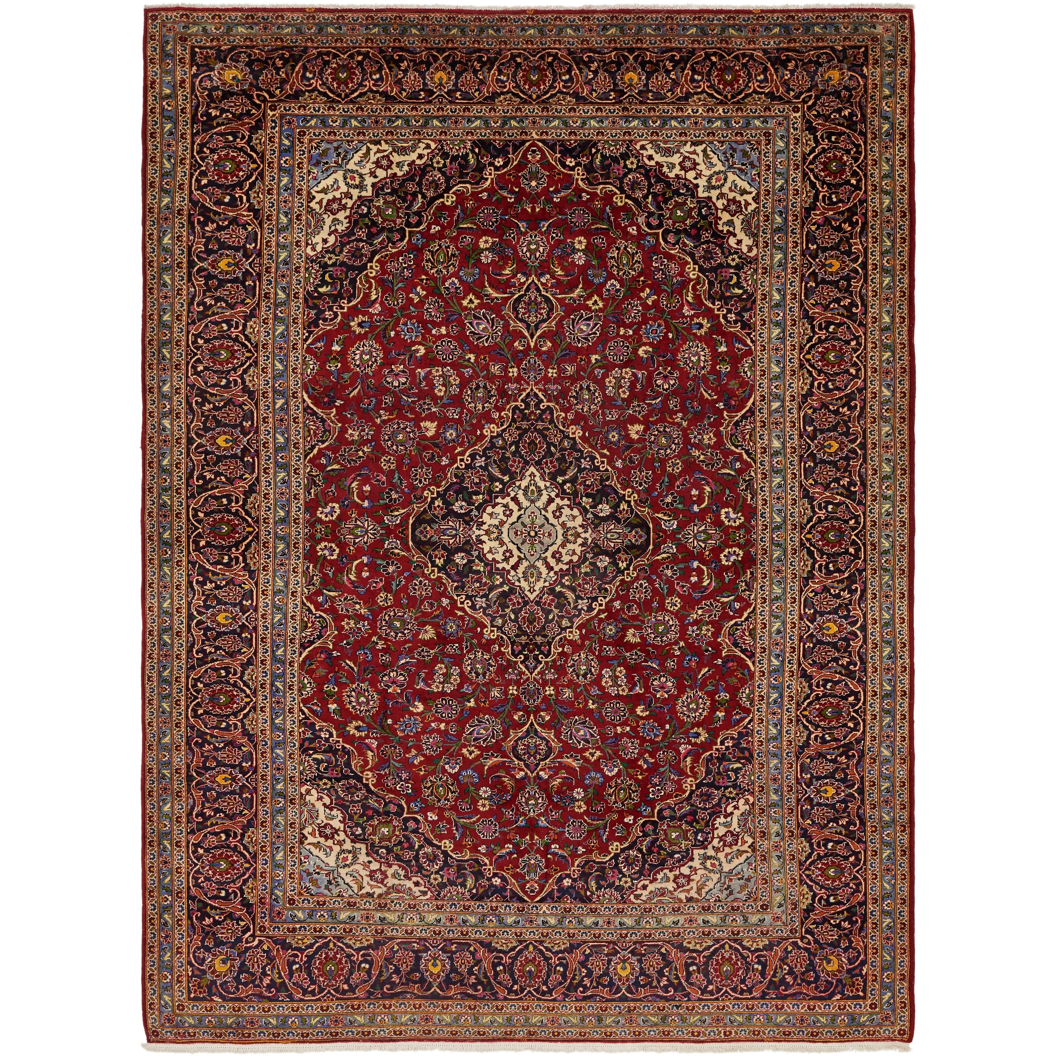 Hand Knotted Kashan Semi Antique Wool Area Rug - 10 2 x 13 10 (Red - 10 2 x 13 10)