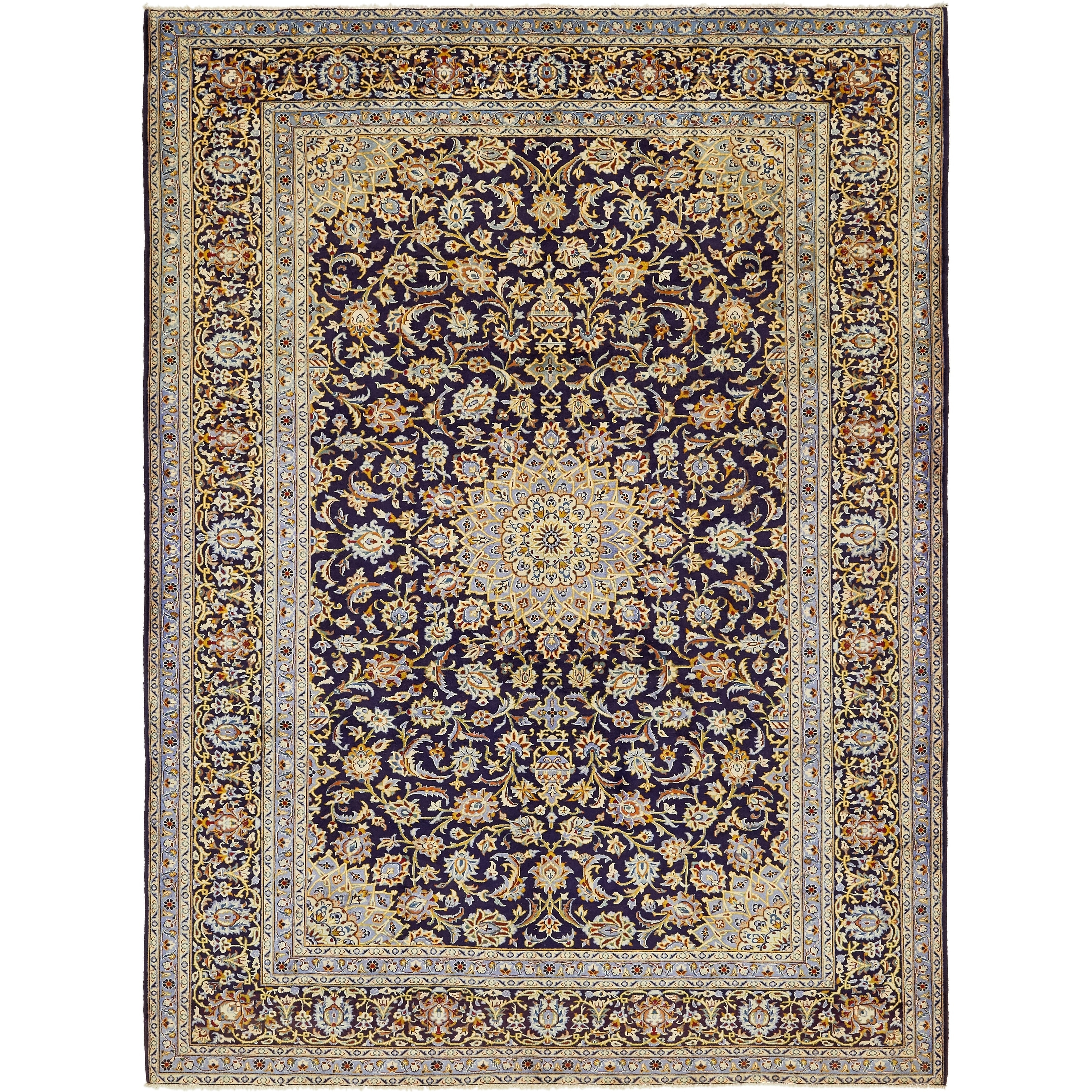 Hand Knotted Kashan Semi Antique Wool Area Rug - 9 x 12 (Navy blue - 9 x 12)