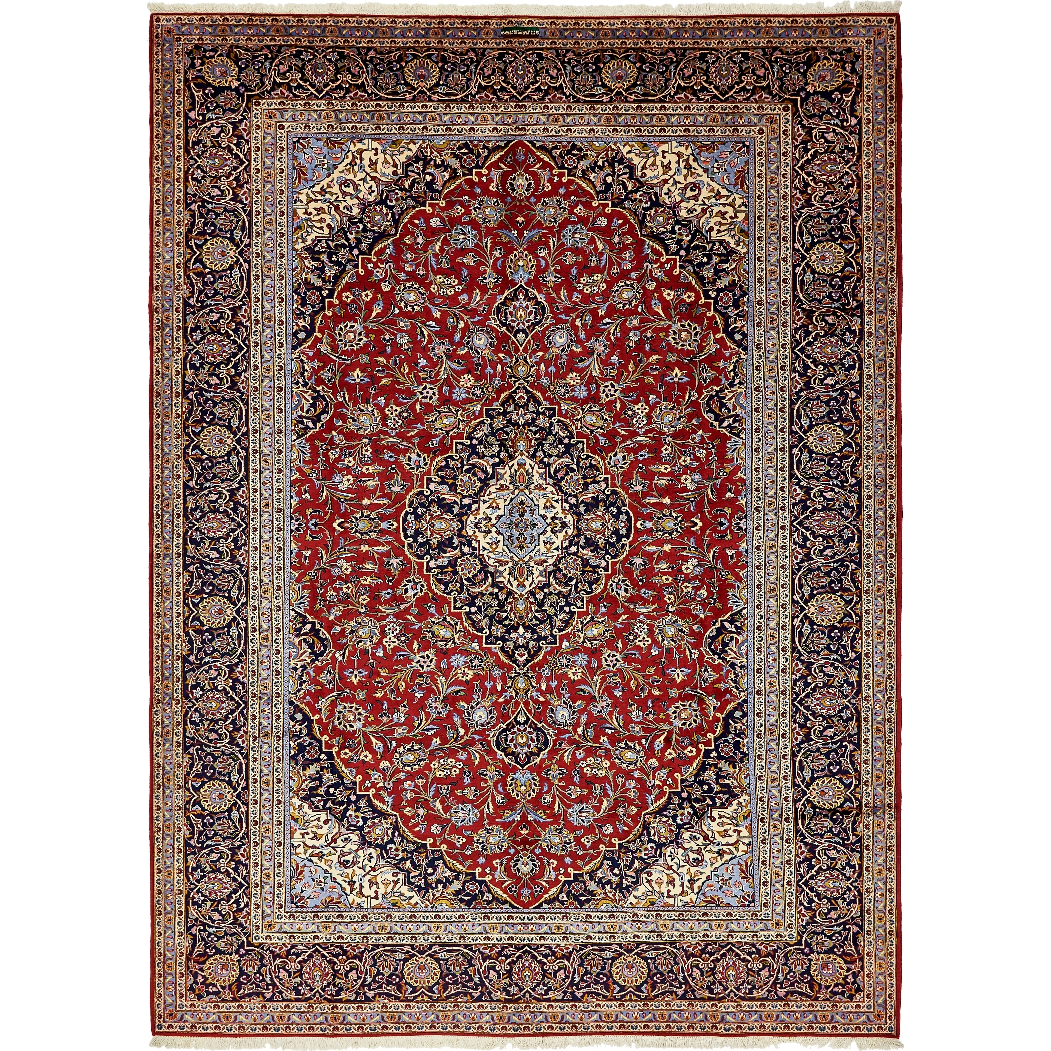 Hand Knotted Kashan Semi Antique Wool Area Rug - 10 x 13 10 (Red - 10 x 13 10)