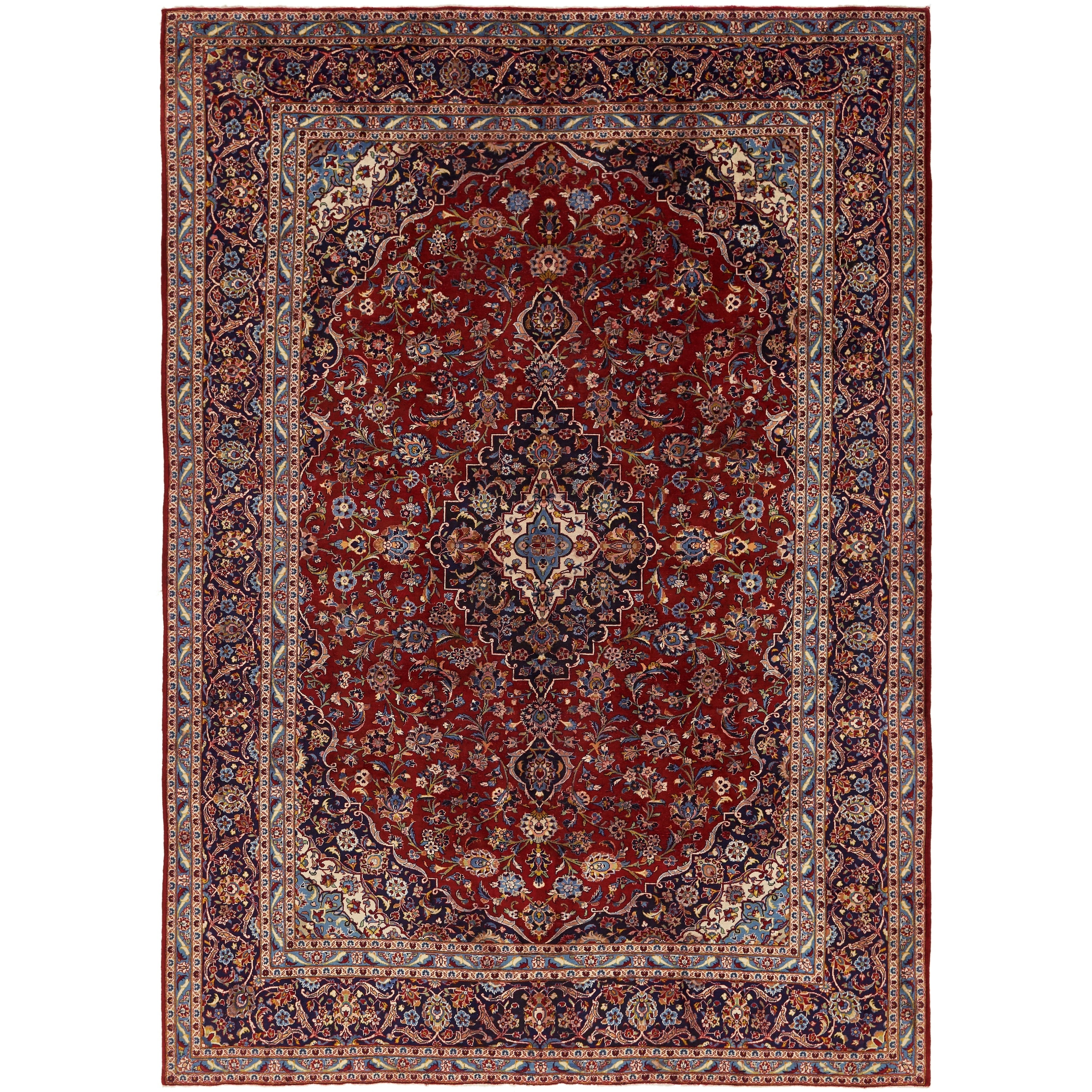 Hand Knotted Kashan Semi Antique Wool Area Rug - 9 7 x 13 3 (Red - 9 7 x 13 3)
