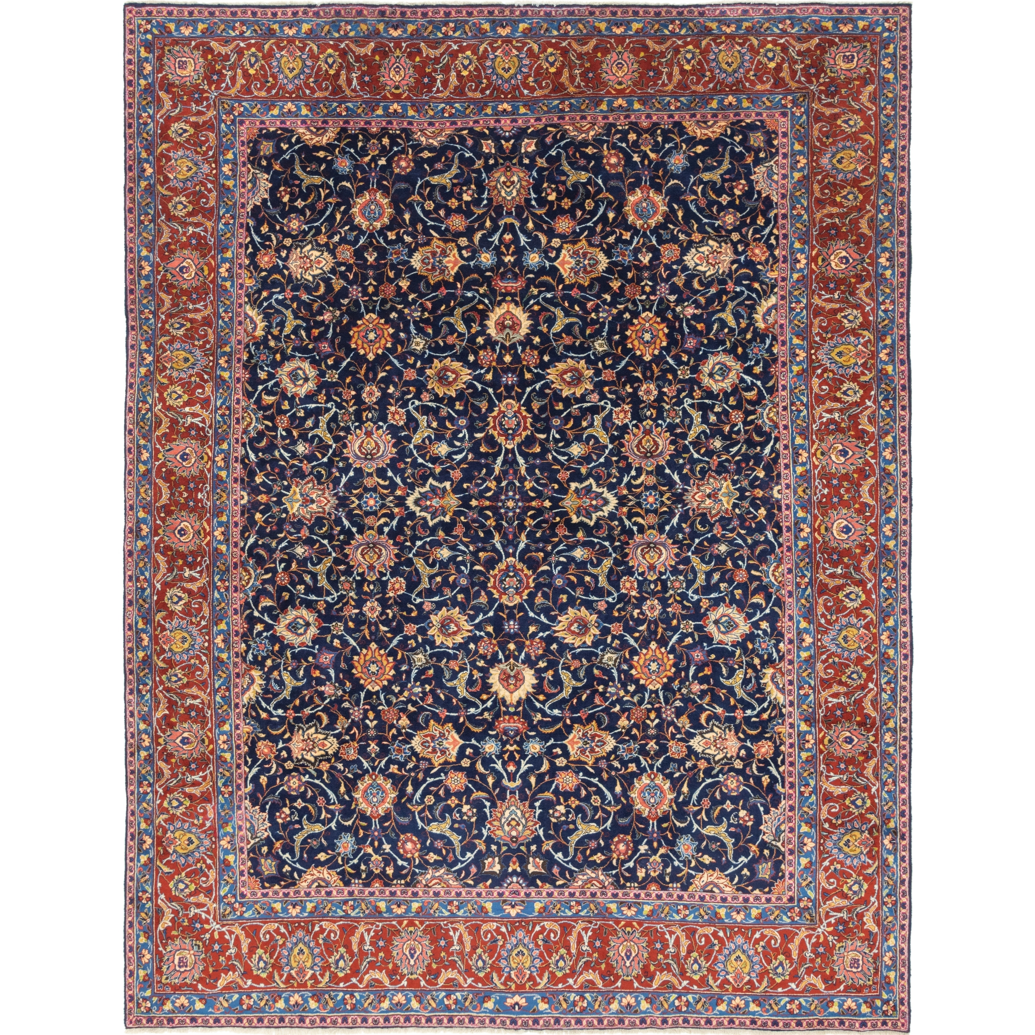 Hand Knotted Kashan Wool Area Rug - 10 3 x 13 3 (Navy blue - 10 3 x 13 3)