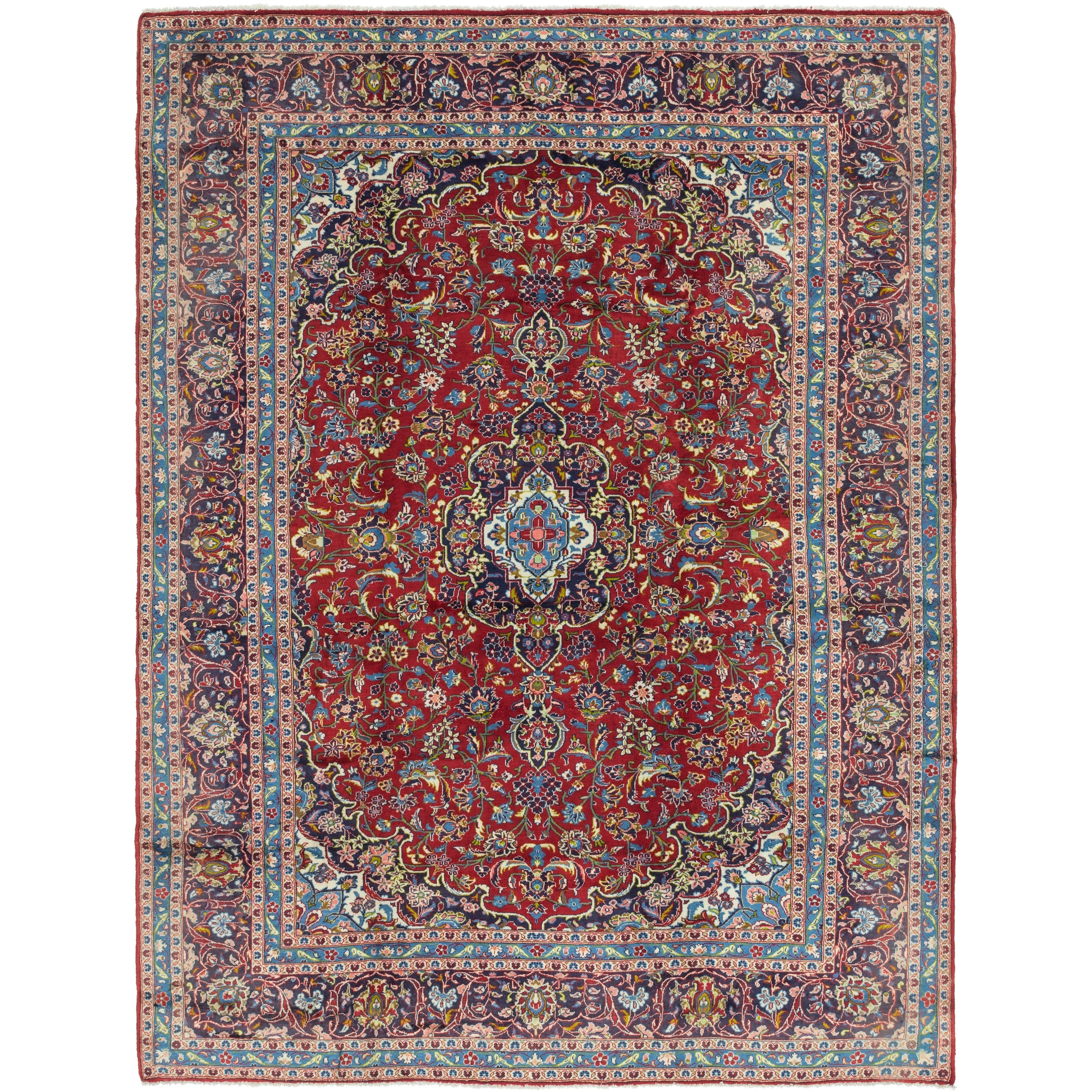 Hand Knotted Kashan Semi Antique Wool Area Rug - 9 10 x 12 9 (Red - 9 10 x 12 9)