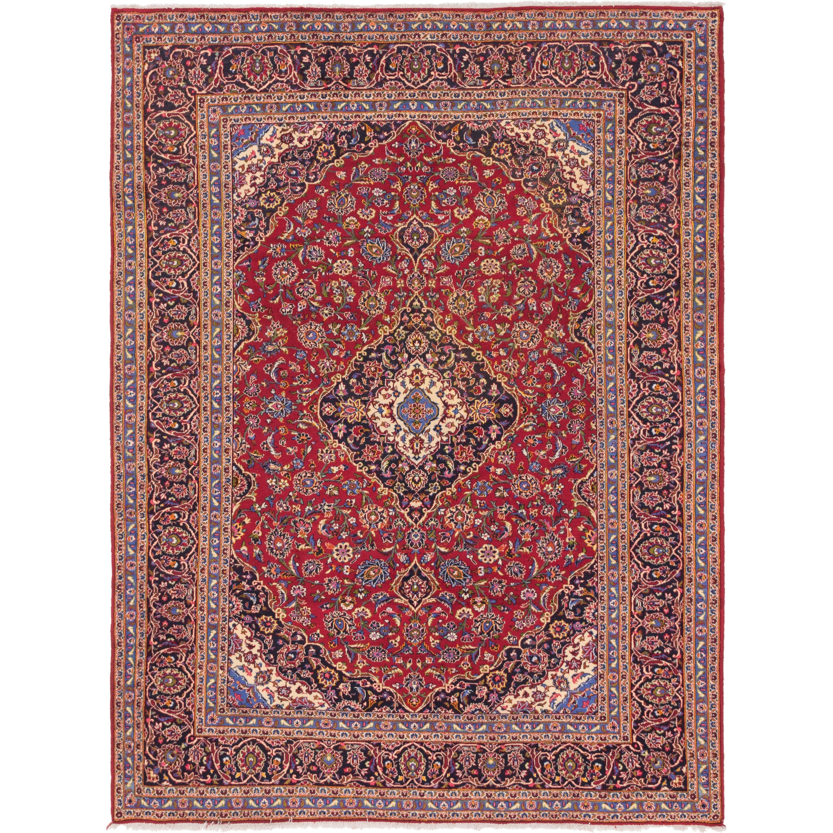 Hand Knotted Kashan Wool Area Rug - 9 8 x 13 (Red - 9 8 x 13)