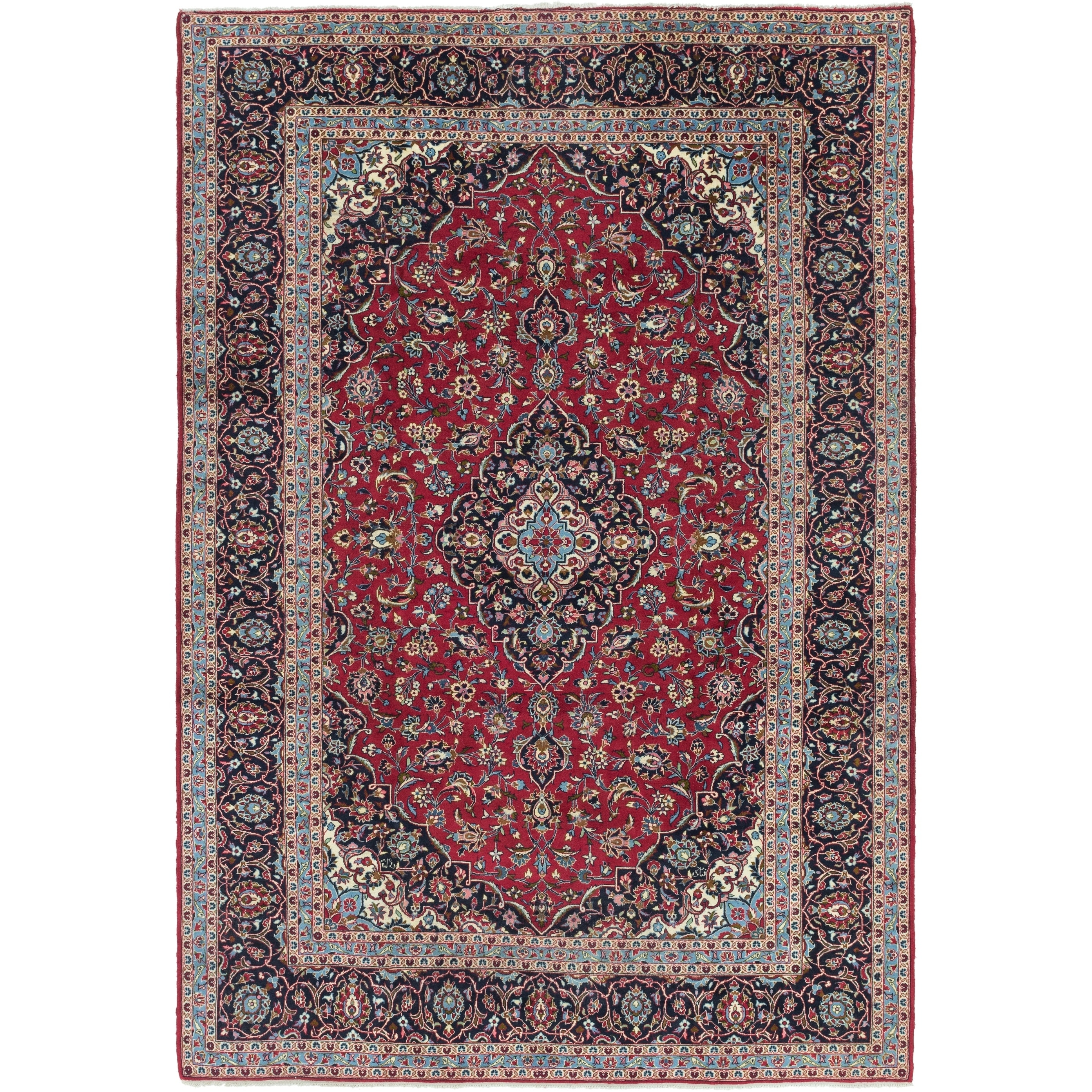 Hand Knotted Kashan Wool Area Rug