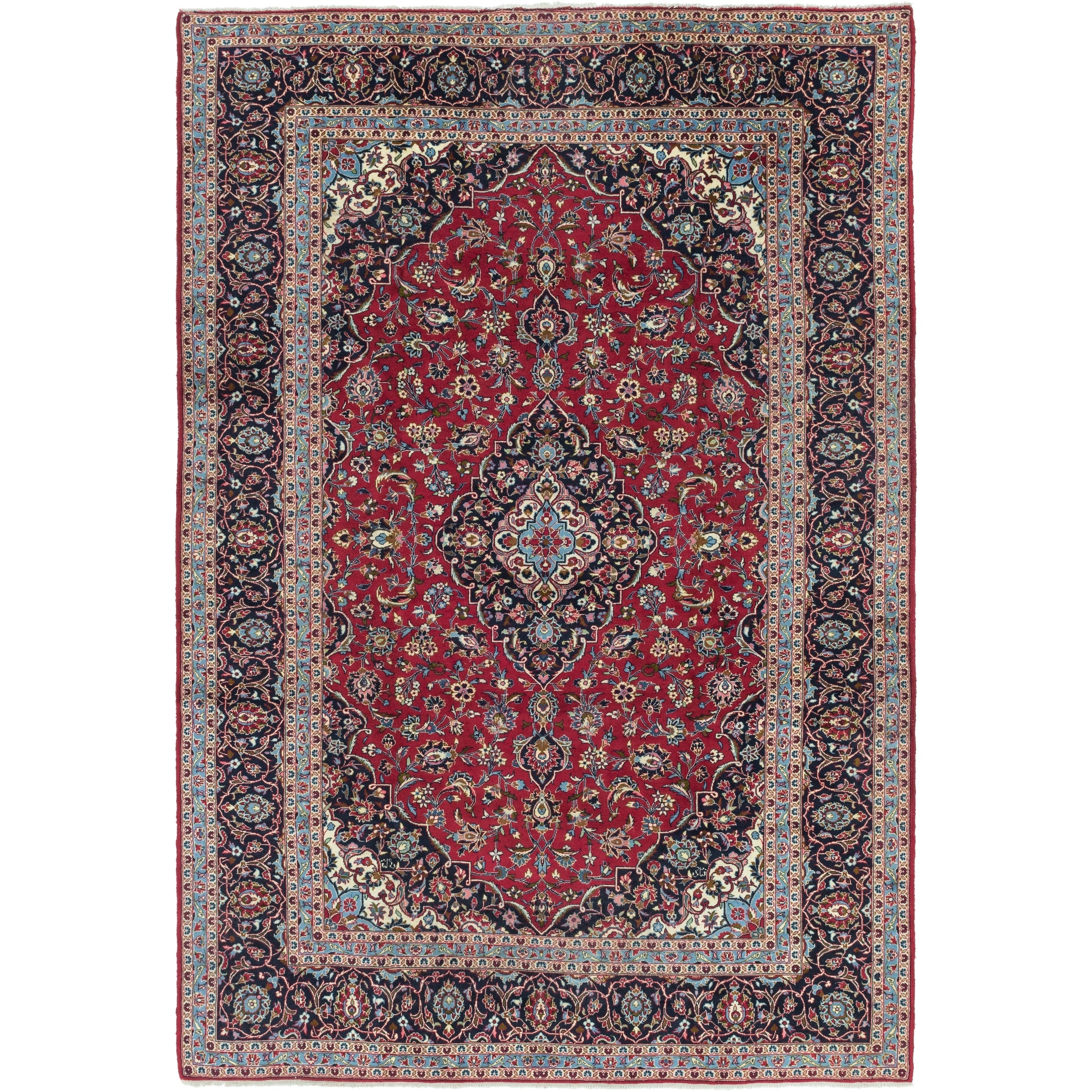 Hand Knotted Kashan Wool Area Rug - 8 x 12 (Red - 8 x 12)