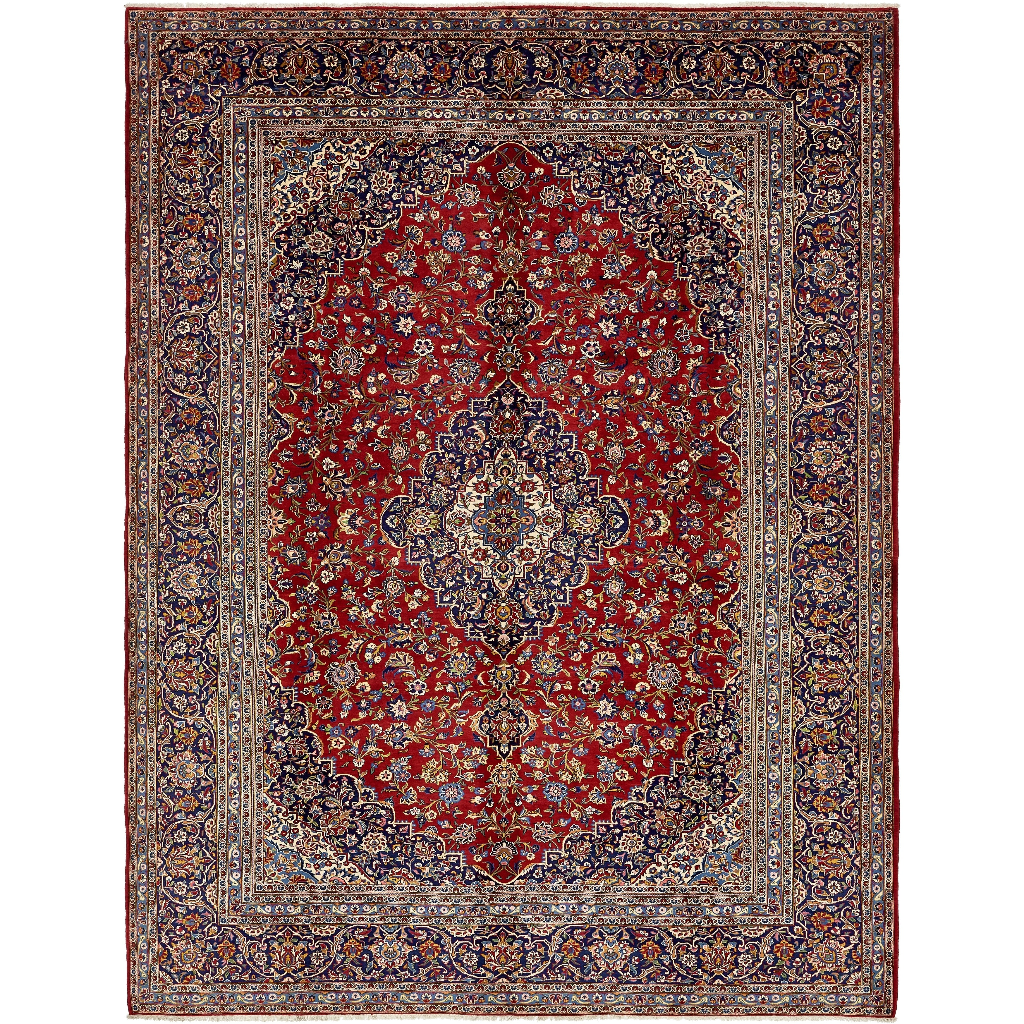 Hand Knotted Kashan Semi Antique Wool Area Rug - 10 9 x 14 2 (Red - 10 9 x 14 2)