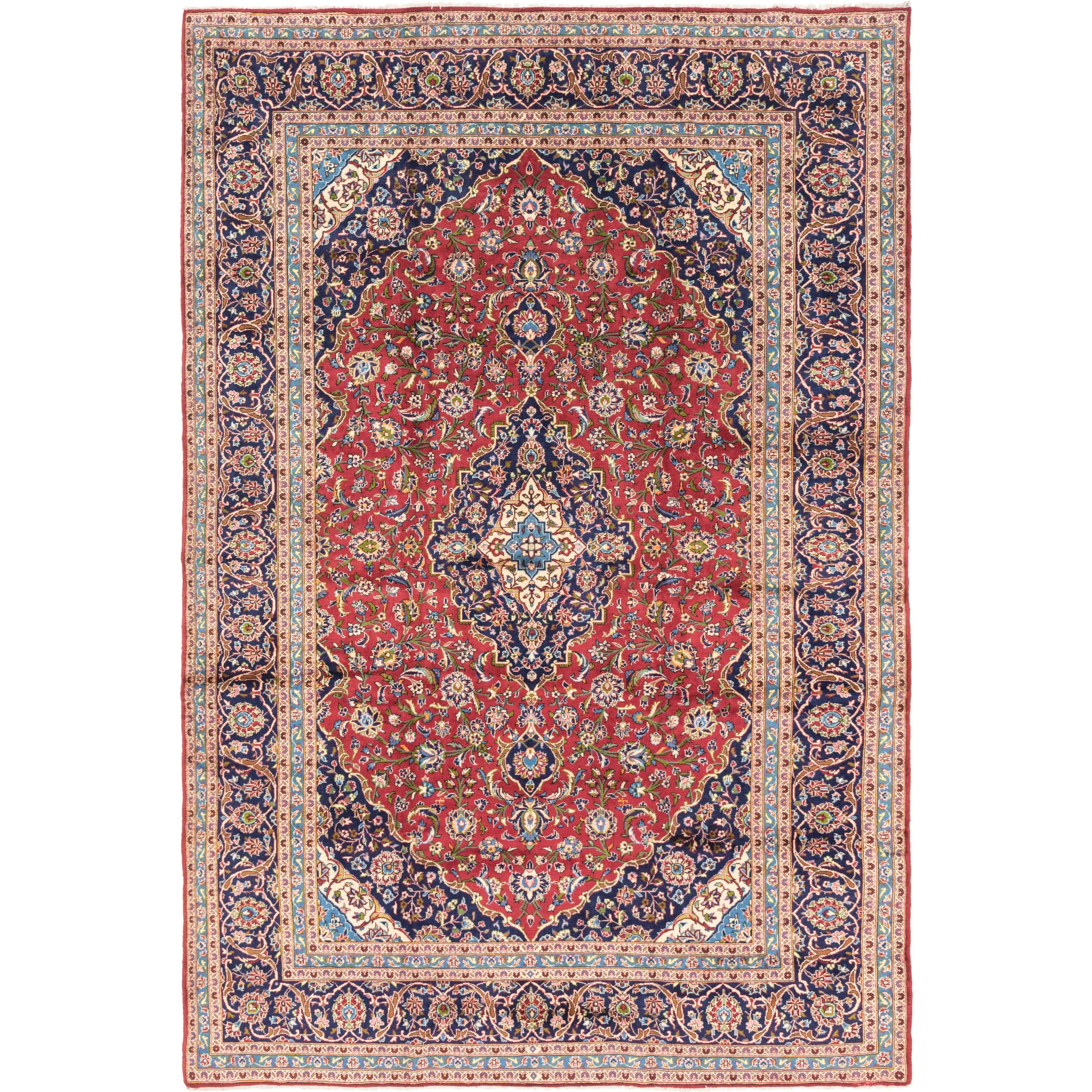 Hand Knotted Kashan Wool Area Rug - 9 6 x 14 2 (Red - 9 6 x 14 2)