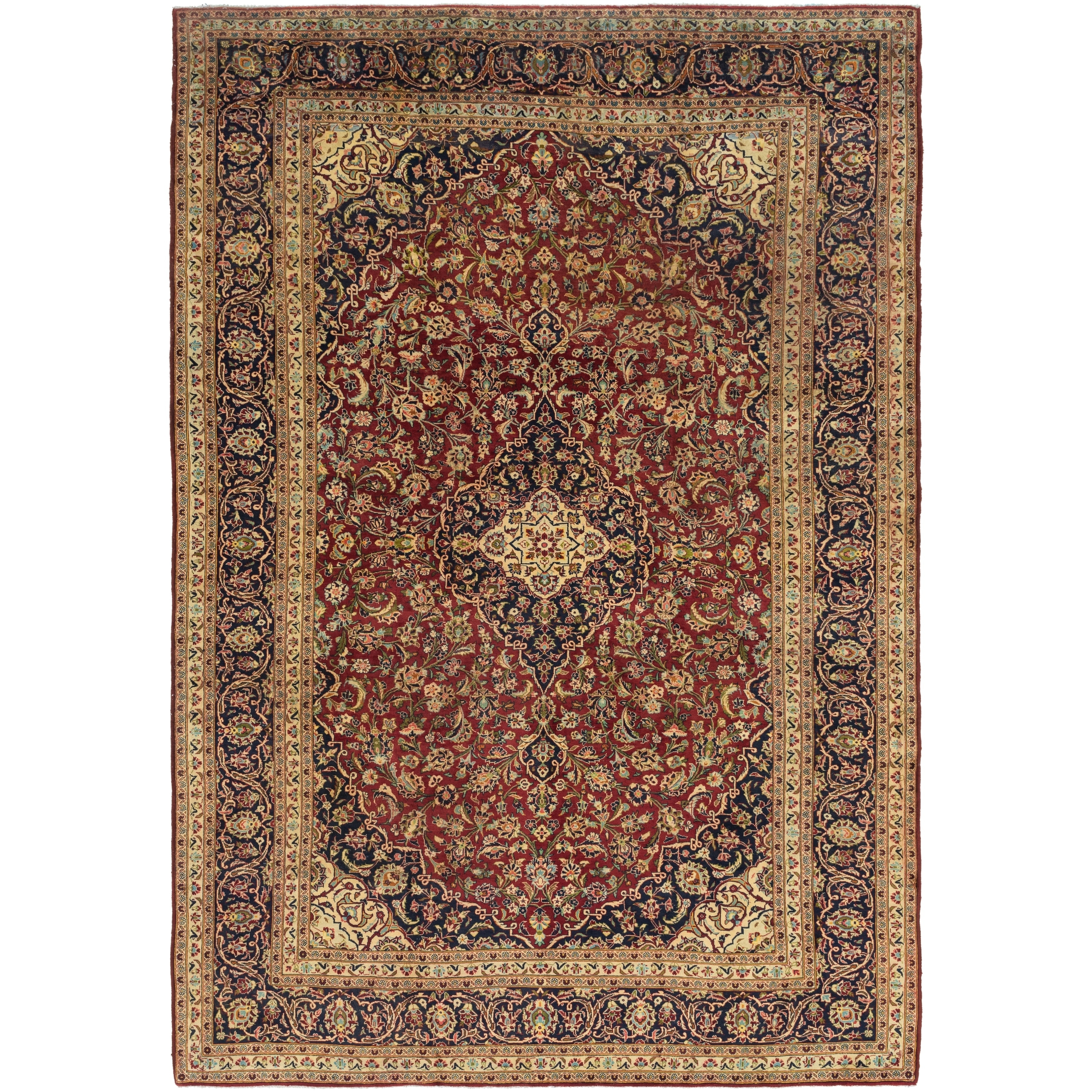 Hand Knotted Kashan Semi Antique Wool Area Rug - 9 10 x 14 2 (Beige - 9 10 x 14 2)