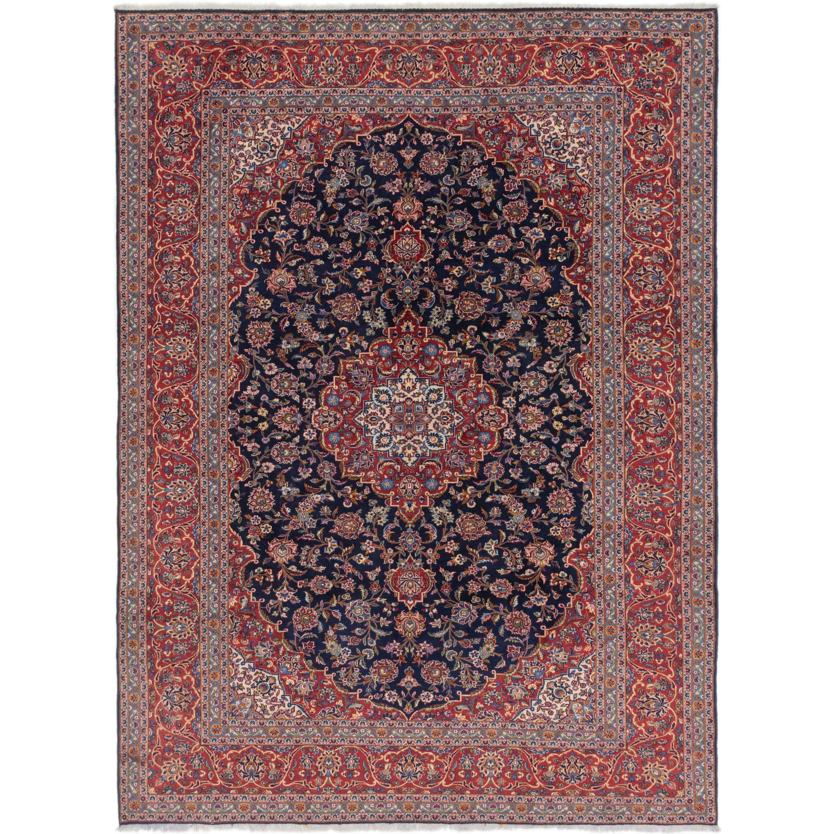 Hand Knotted Kashan Wool Area Rug - 10 x 13 3 (Navy blue - 10 x 13 3)